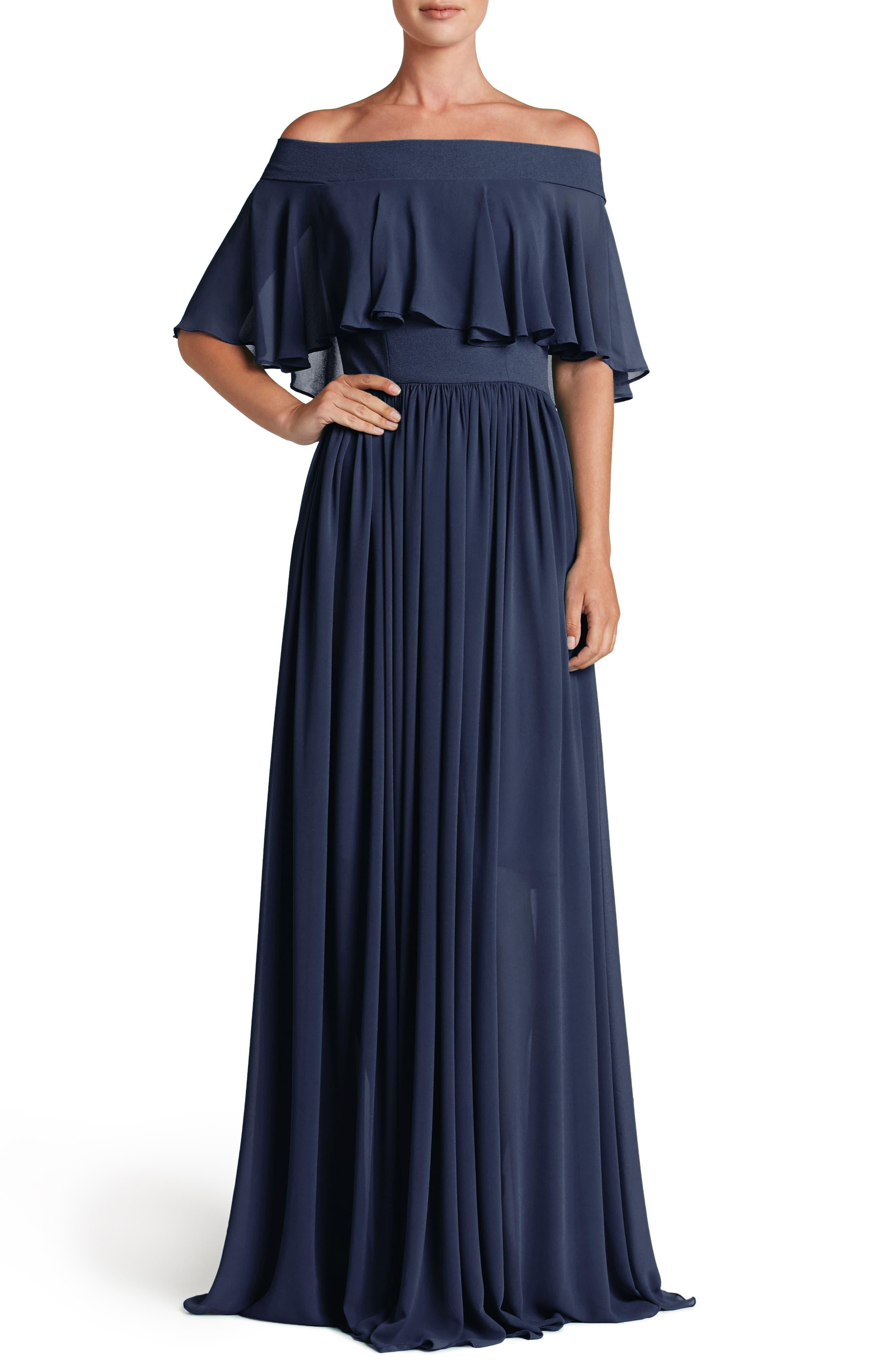 Violet Off the Shoulder Chiffon Gown,                         Main,                         color, 456