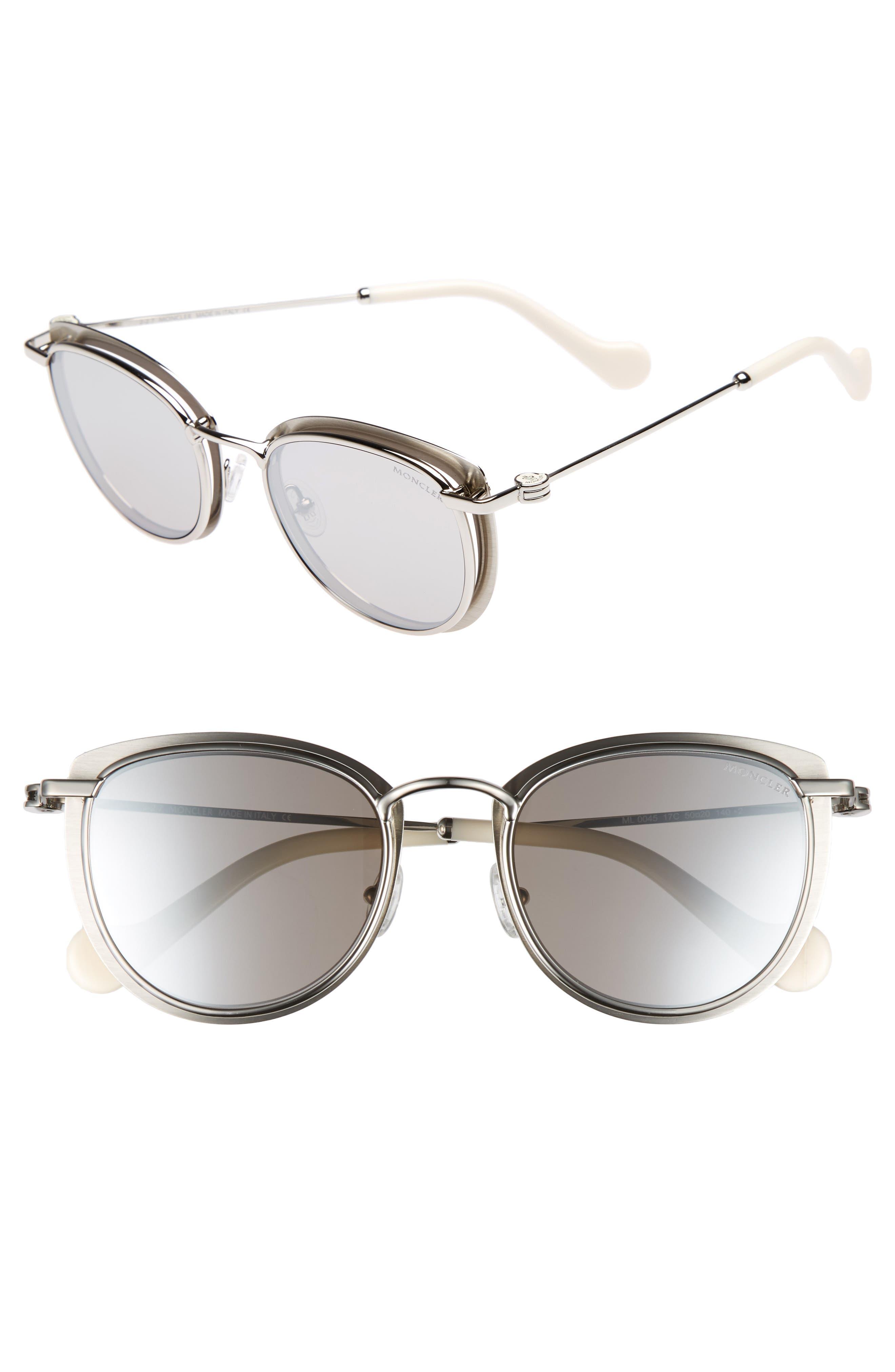 50mm Mirrored Geometric Sunglasses,                             Main thumbnail 1, color,                             PALADIUM/ WHITE/ SMOKE/ SILVER