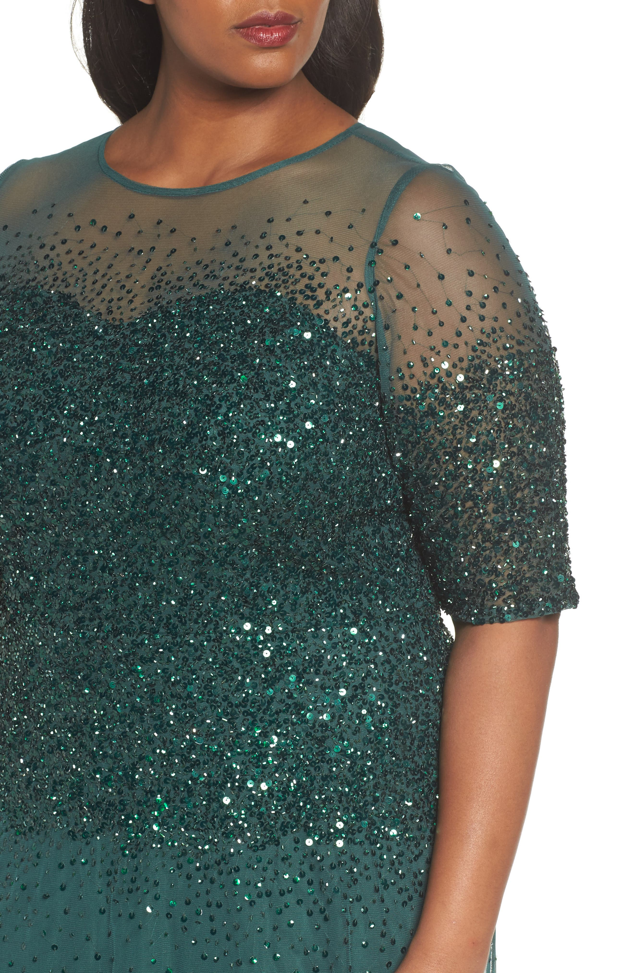 Beaded Illusion Gown,                             Alternate thumbnail 4, color,                             302