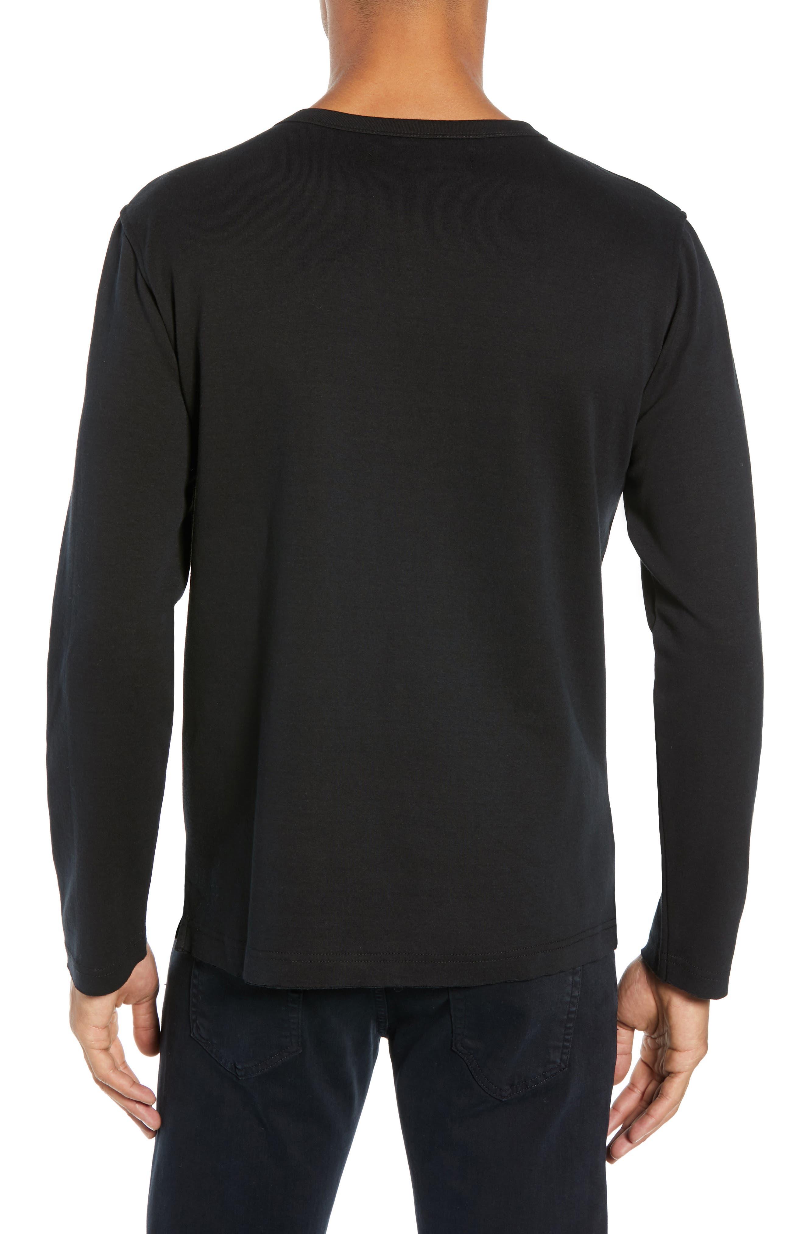 Trim Fit Long Sleeve Pocket T-Shirt,                             Alternate thumbnail 2, color,                             BLACK