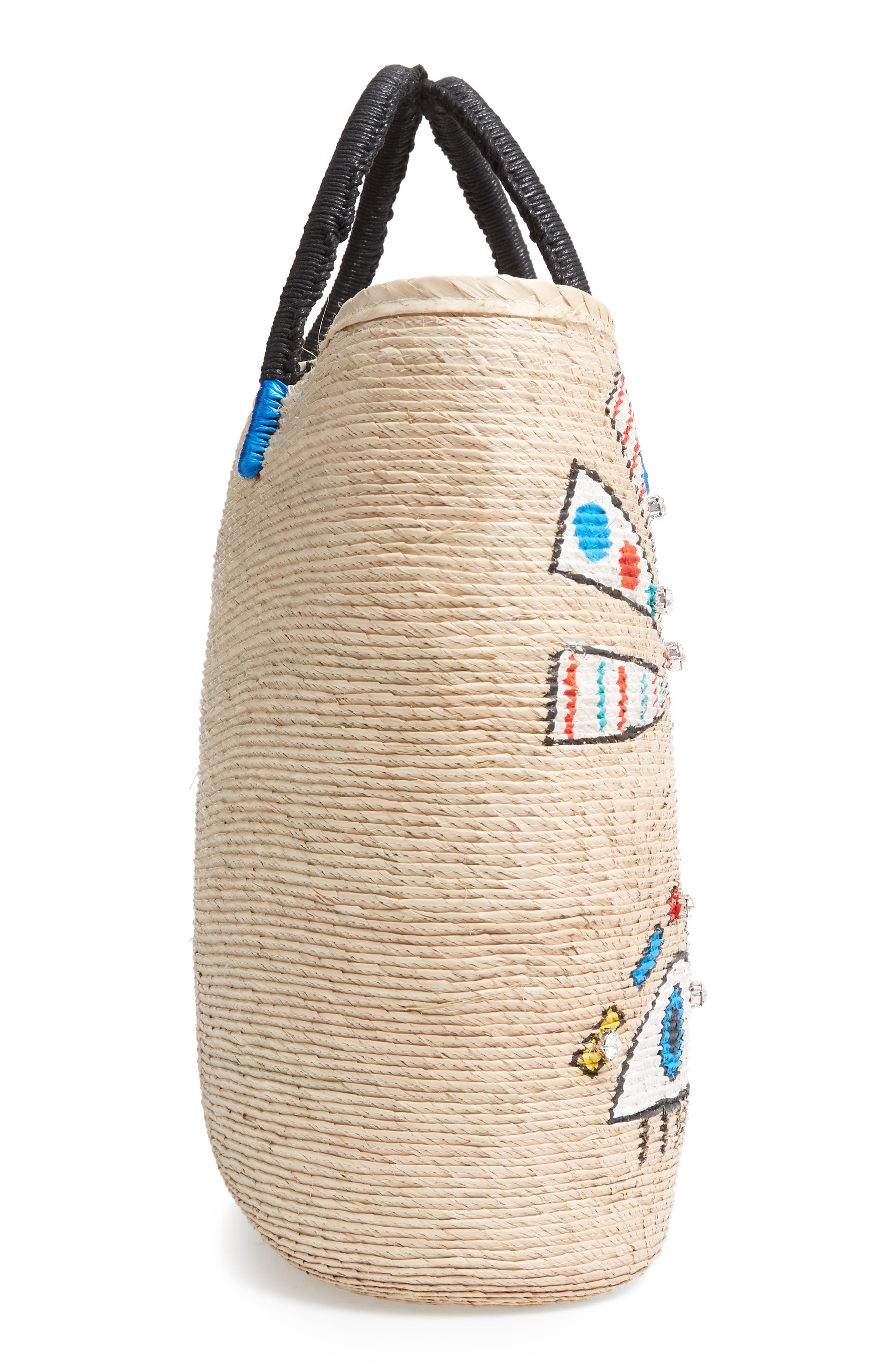 Agua D' Mar Funky Eyes Straw Bucket Bag,                             Alternate thumbnail 5, color,                             MULTI