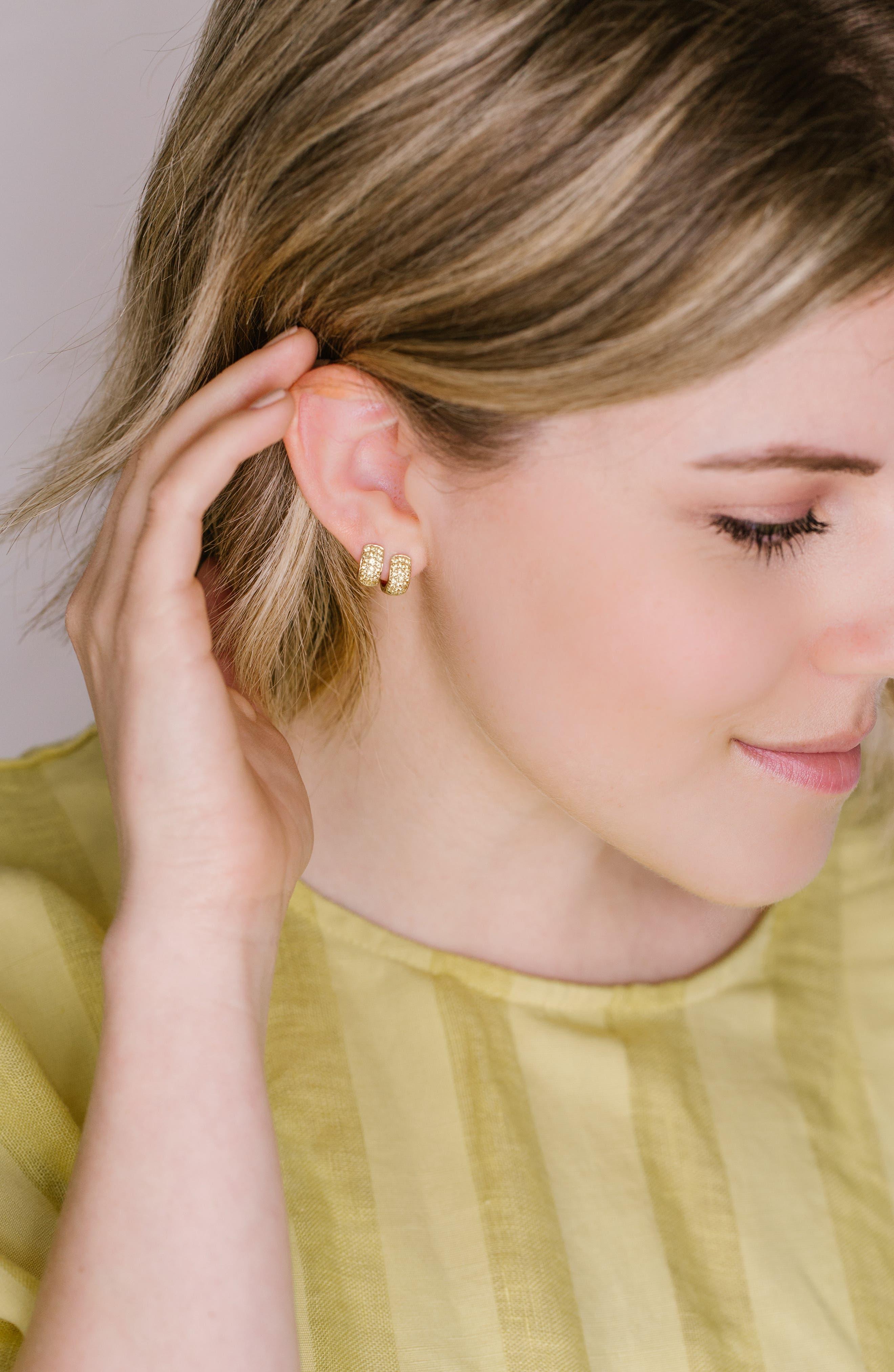 Dana Rebecca Mini Diamond Hoop Earrings,                             Alternate thumbnail 3, color,                             YELLOW GOLD