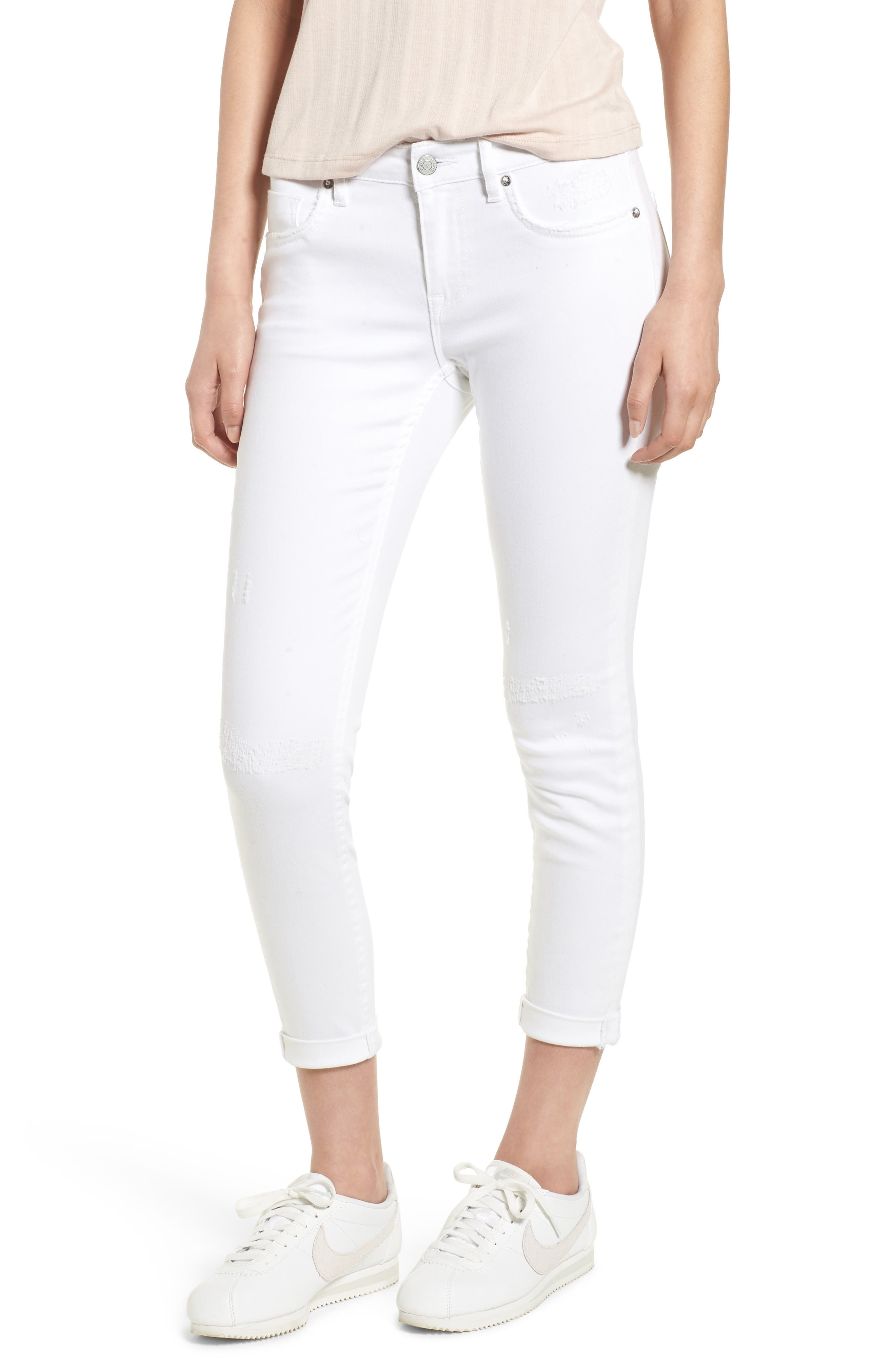 Thompson Tomboy Distressed Cuffed Crop Skinny Jeans,                             Main thumbnail 1, color,