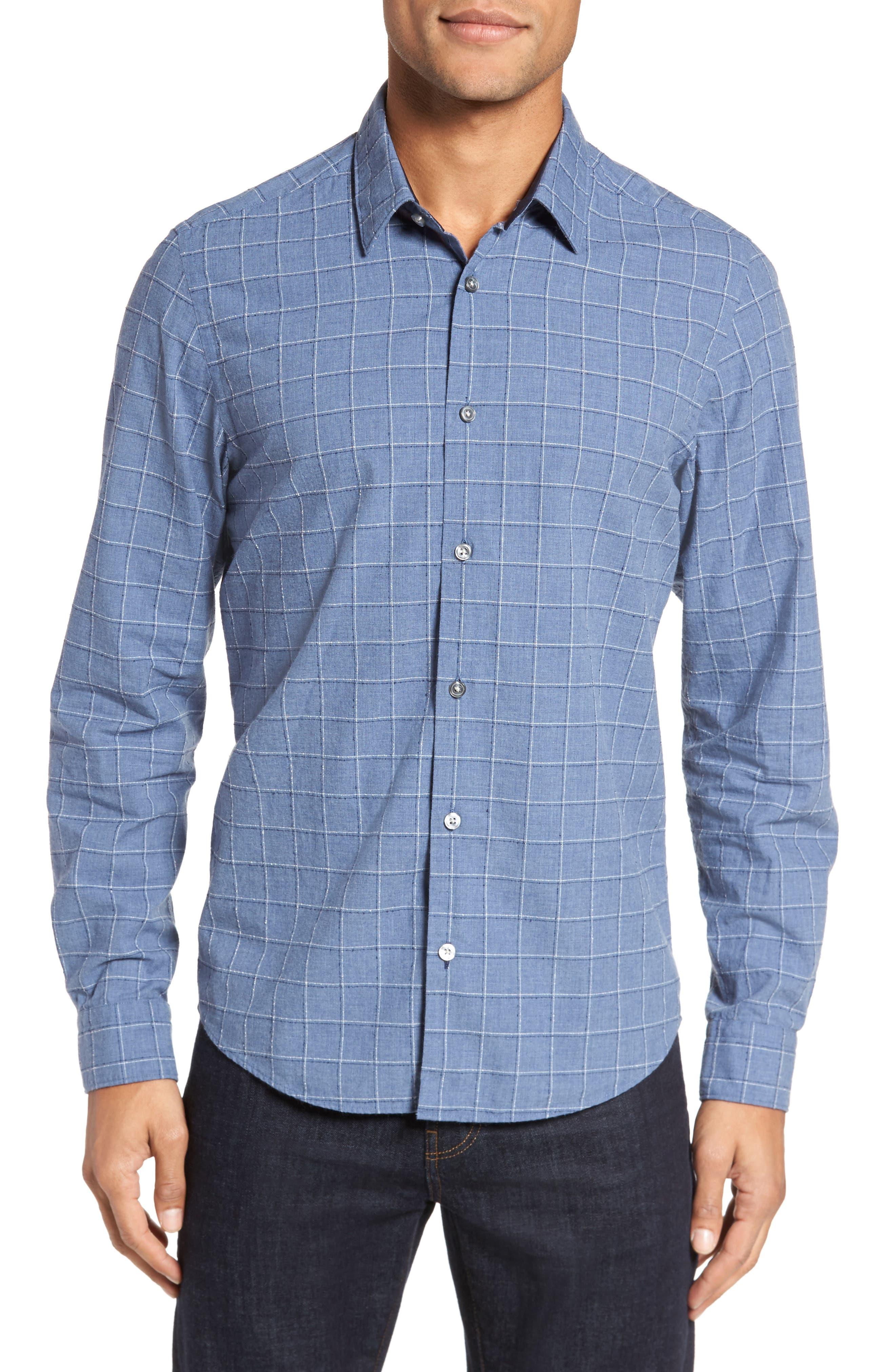BOSS Lance Slim Fit Check Sport Shirt,                             Main thumbnail 1, color,                             489