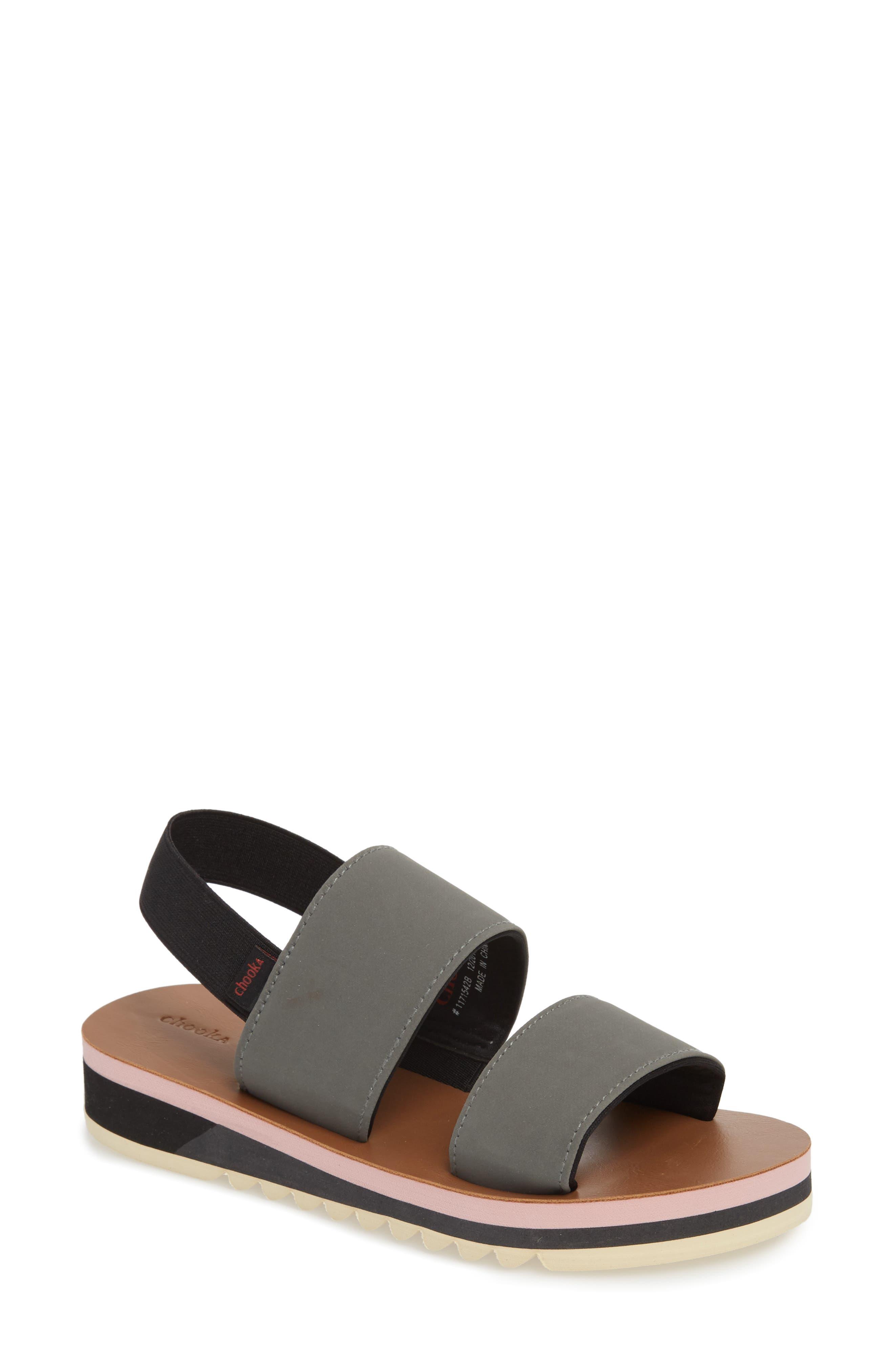 Flatform Sandal,                             Main thumbnail 1, color,                             GREY