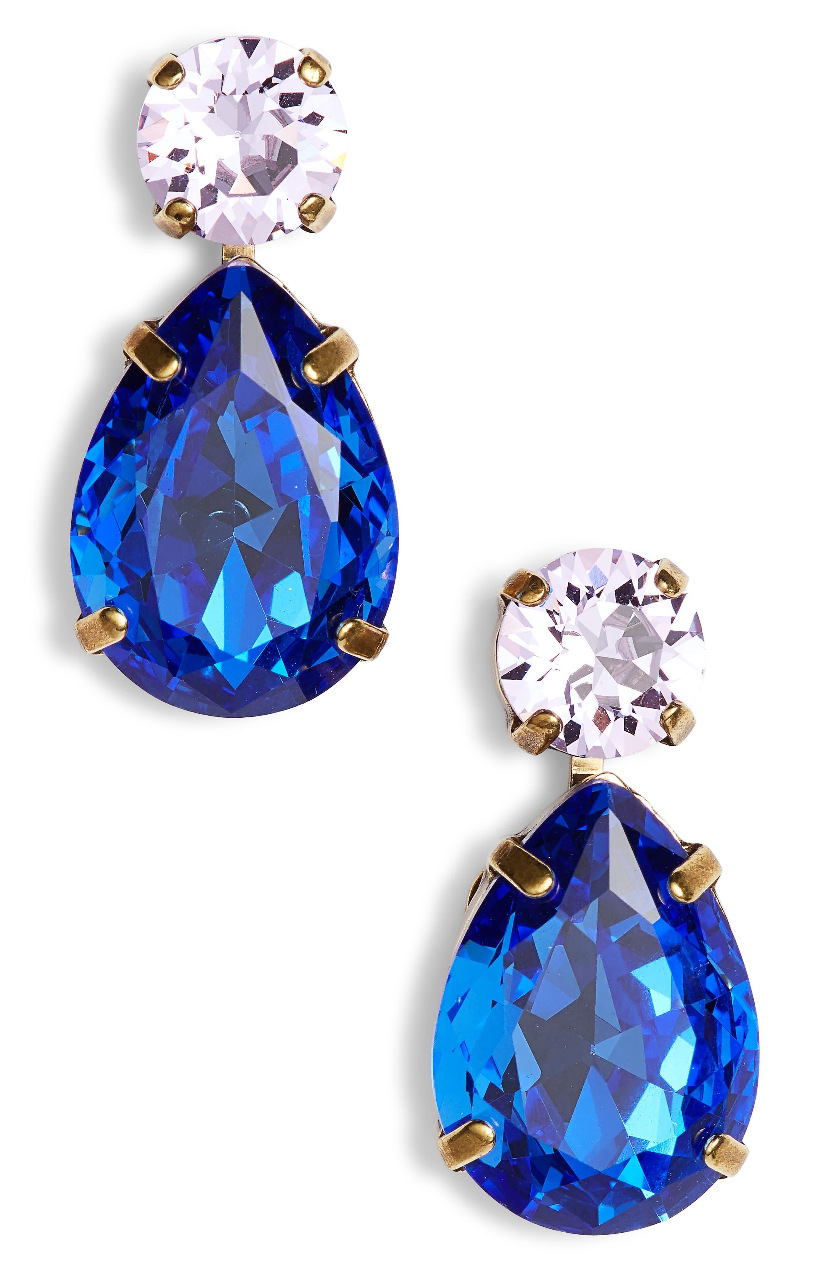 Teardrop Crystal Earrings,                         Main,                         color, BLUE