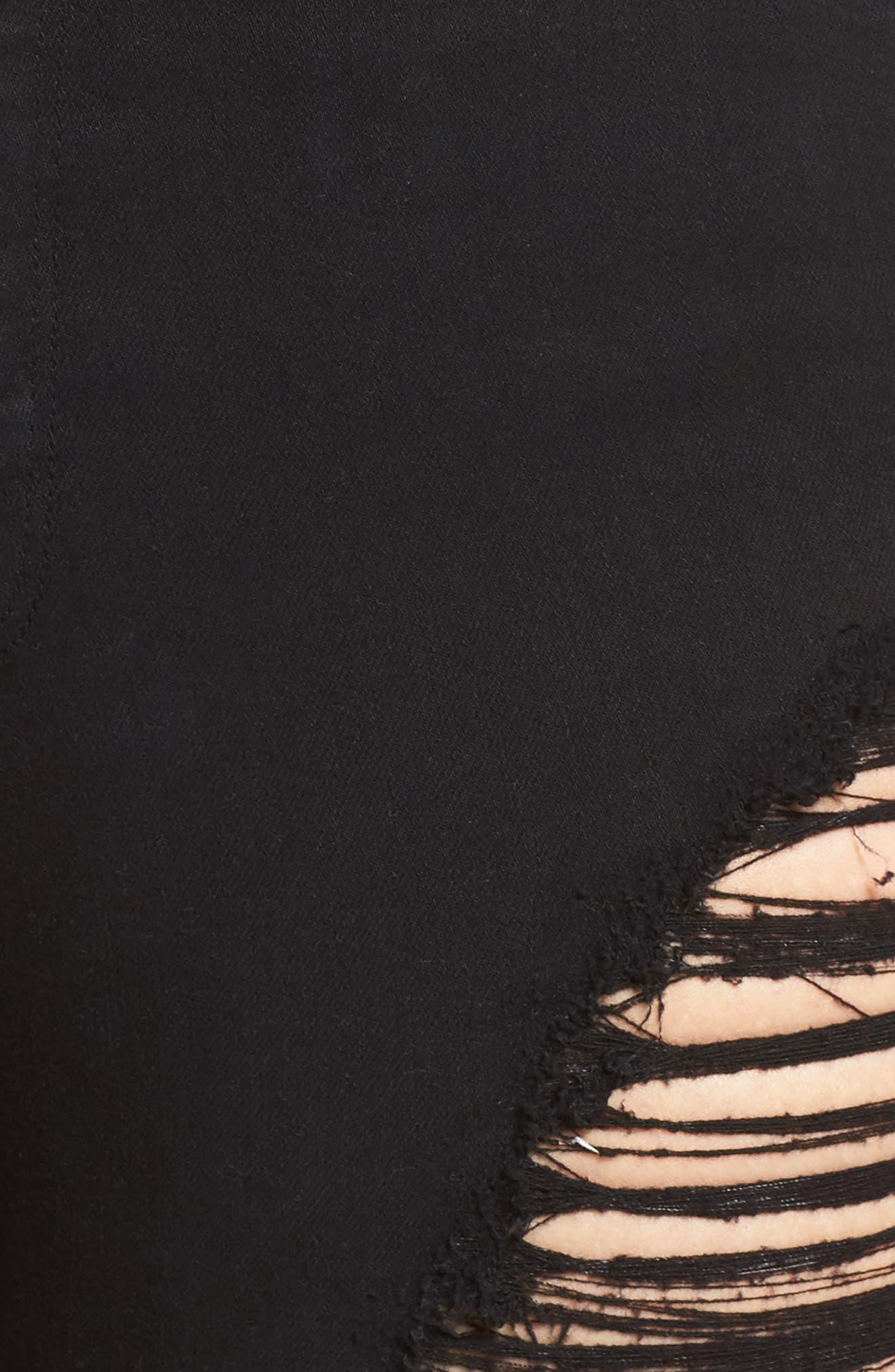 Destroyed Cutoff Denim Shorts,                             Alternate thumbnail 5, color,                             001
