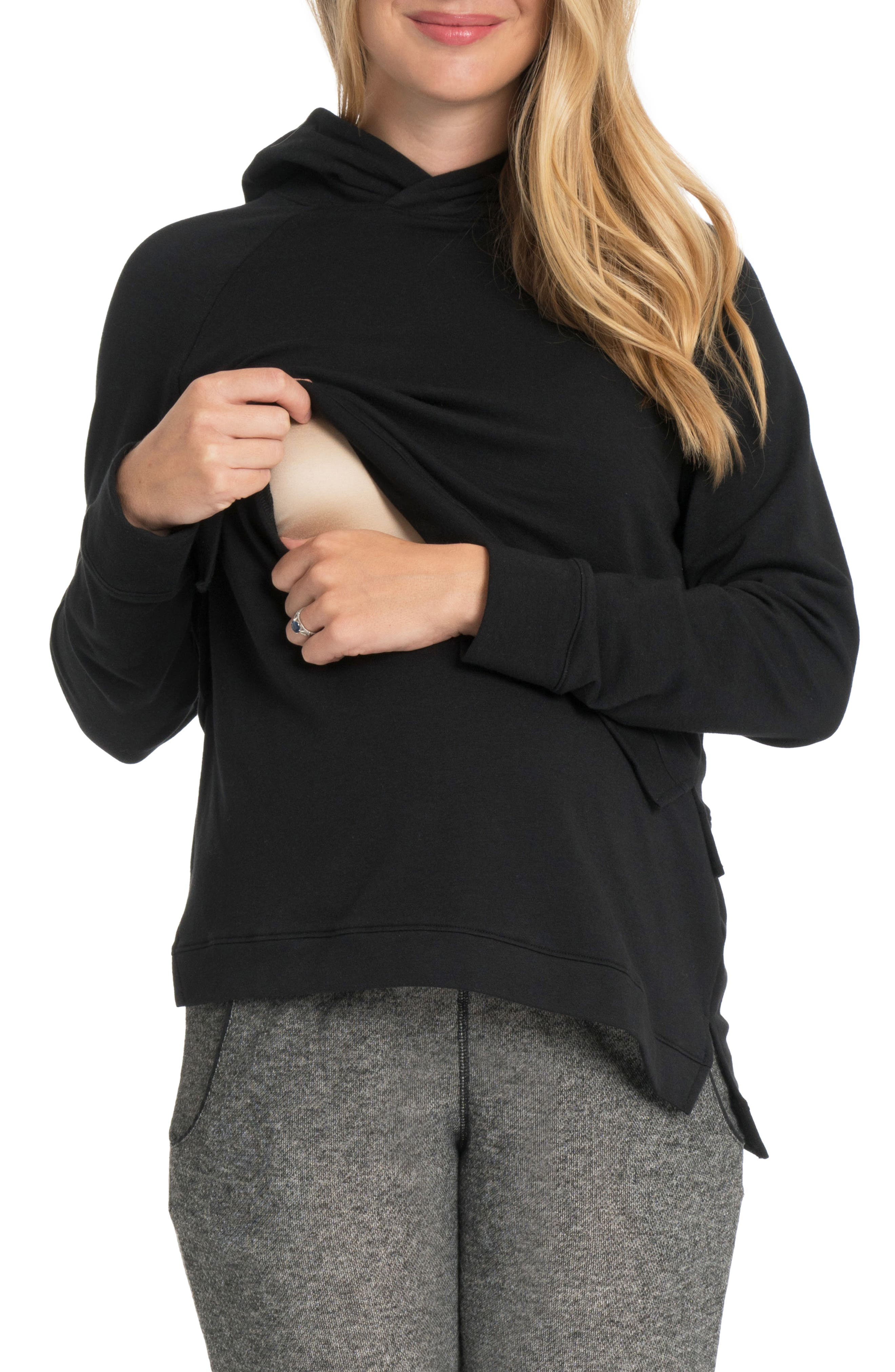 Asymmetric Maternity/Nursing Hoodie,                         Main,                         color, BLACK