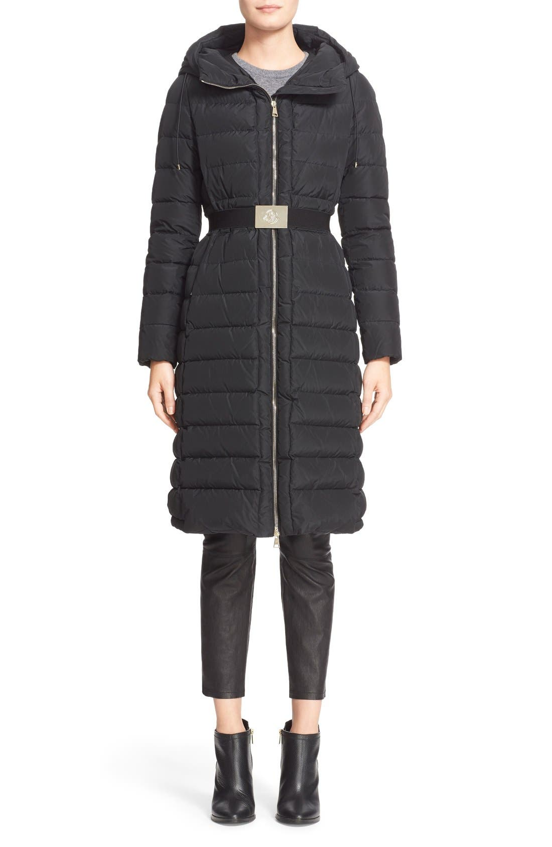 'Imin' Water Resistant Belted Down Puffer Coat,                             Main thumbnail 1, color,                             001