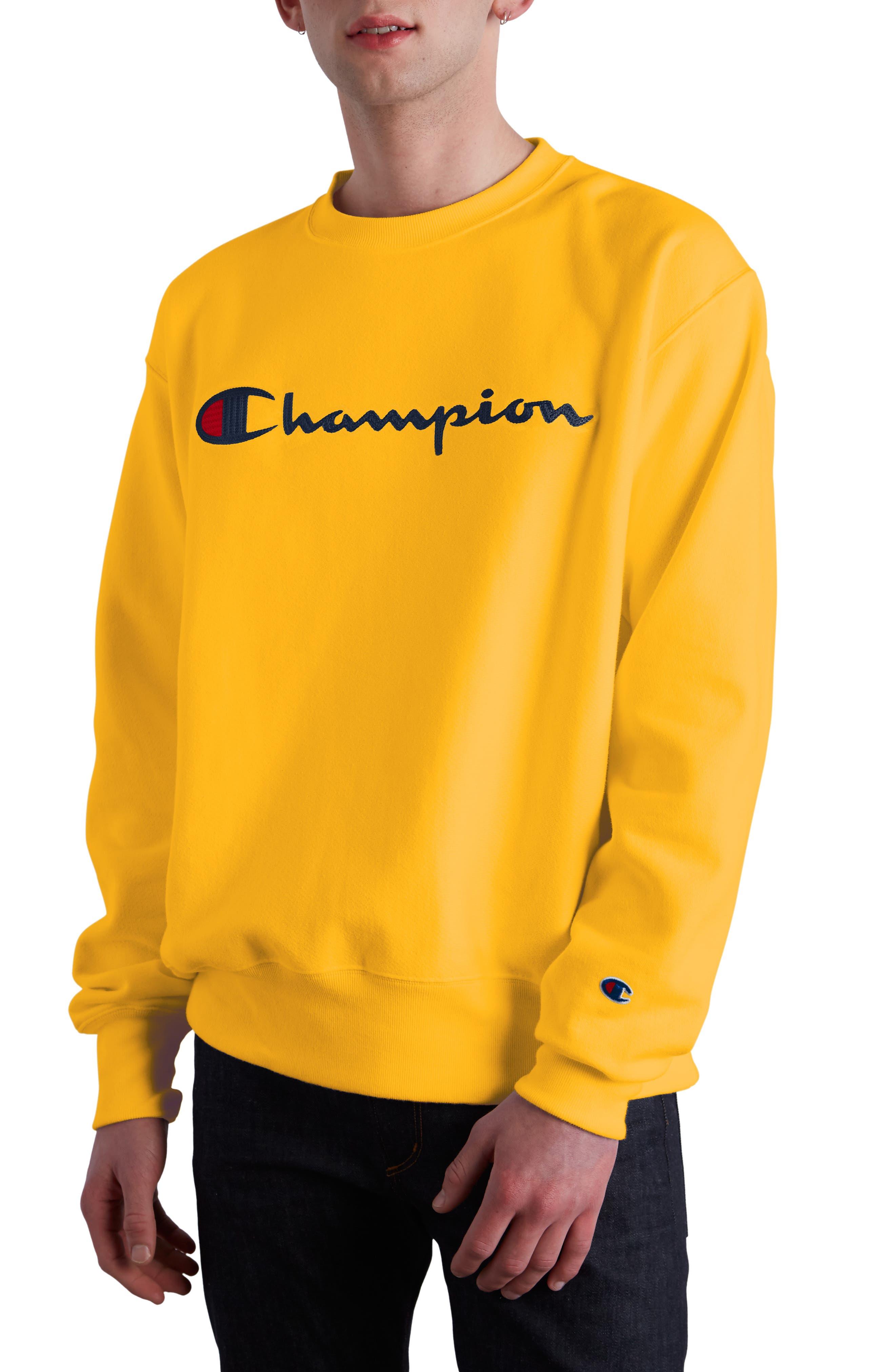 Chainstitched Script Logo Crewneck Sweatshirt,                         Main,                         color, CHAMPION GOLD
