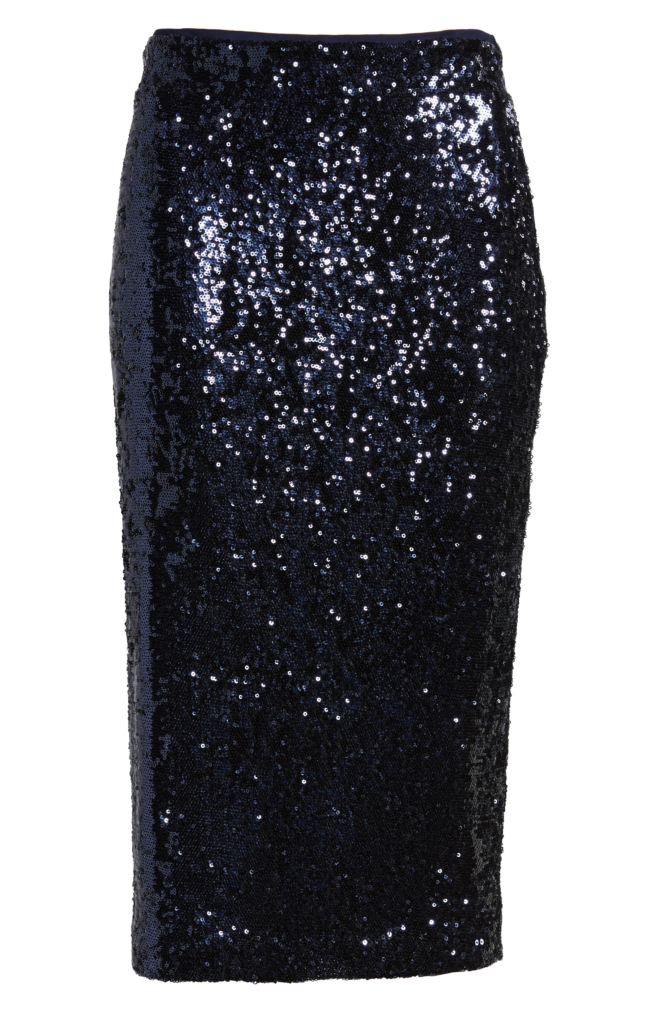 Sequin Pencil Skirt,                             Alternate thumbnail 6, color,                             NAVY MINI SEQUINS