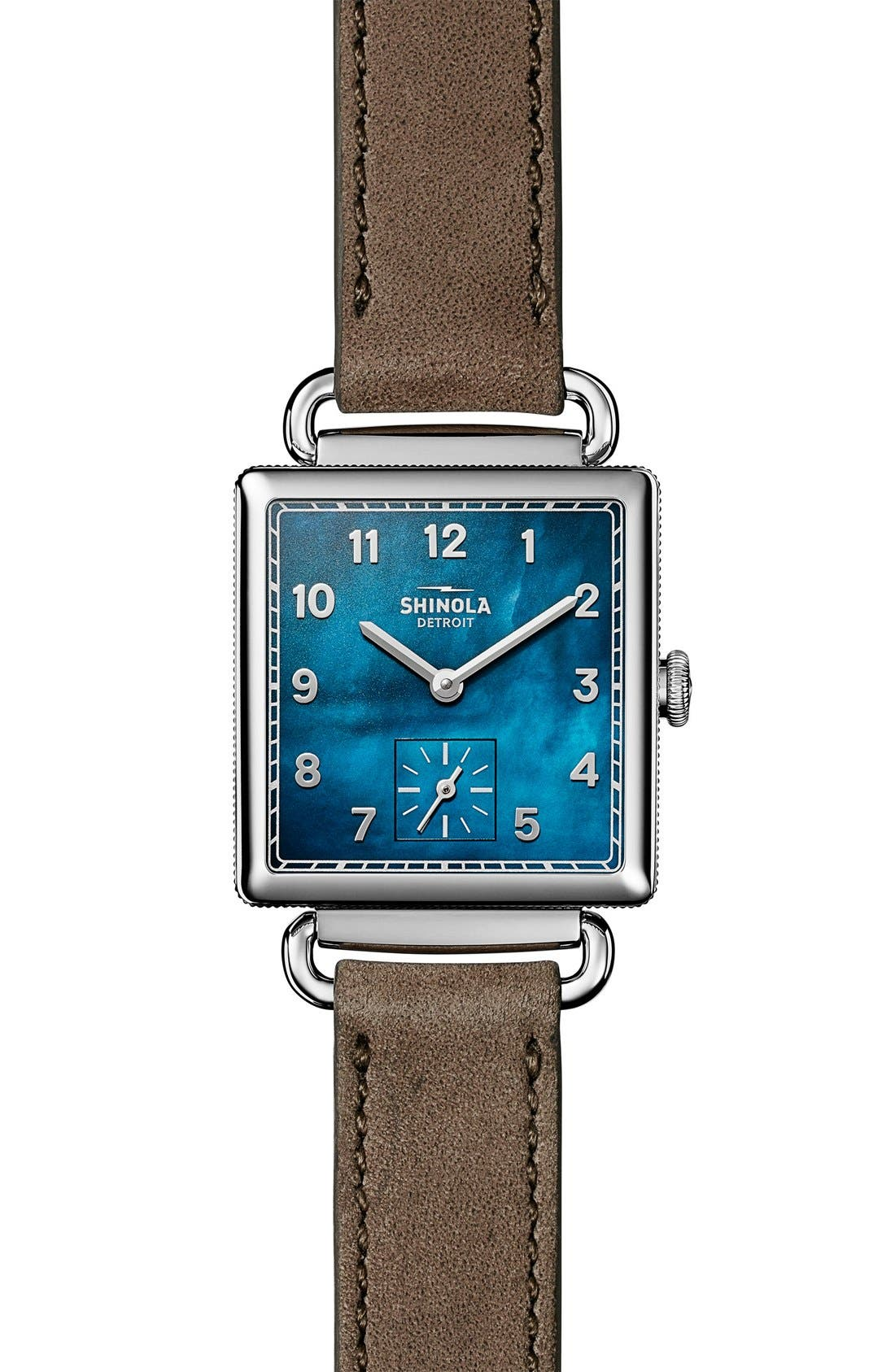 Cass Leather Strap Watch, 28mm,                             Main thumbnail 1, color,                             GREY/ NAVY MOTHER OF PEARL