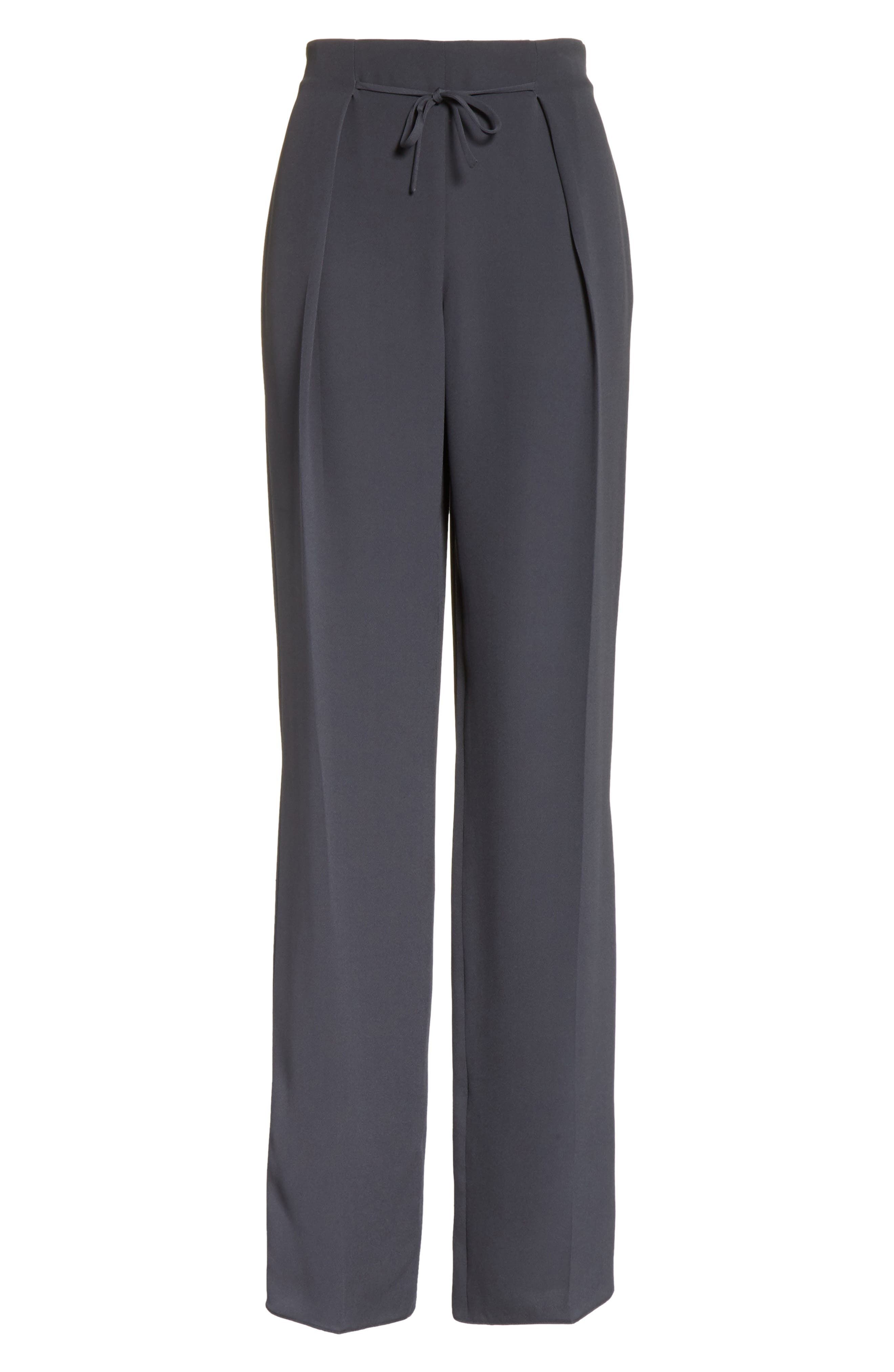 Tie Front Silk Pants,                             Alternate thumbnail 6, color,
