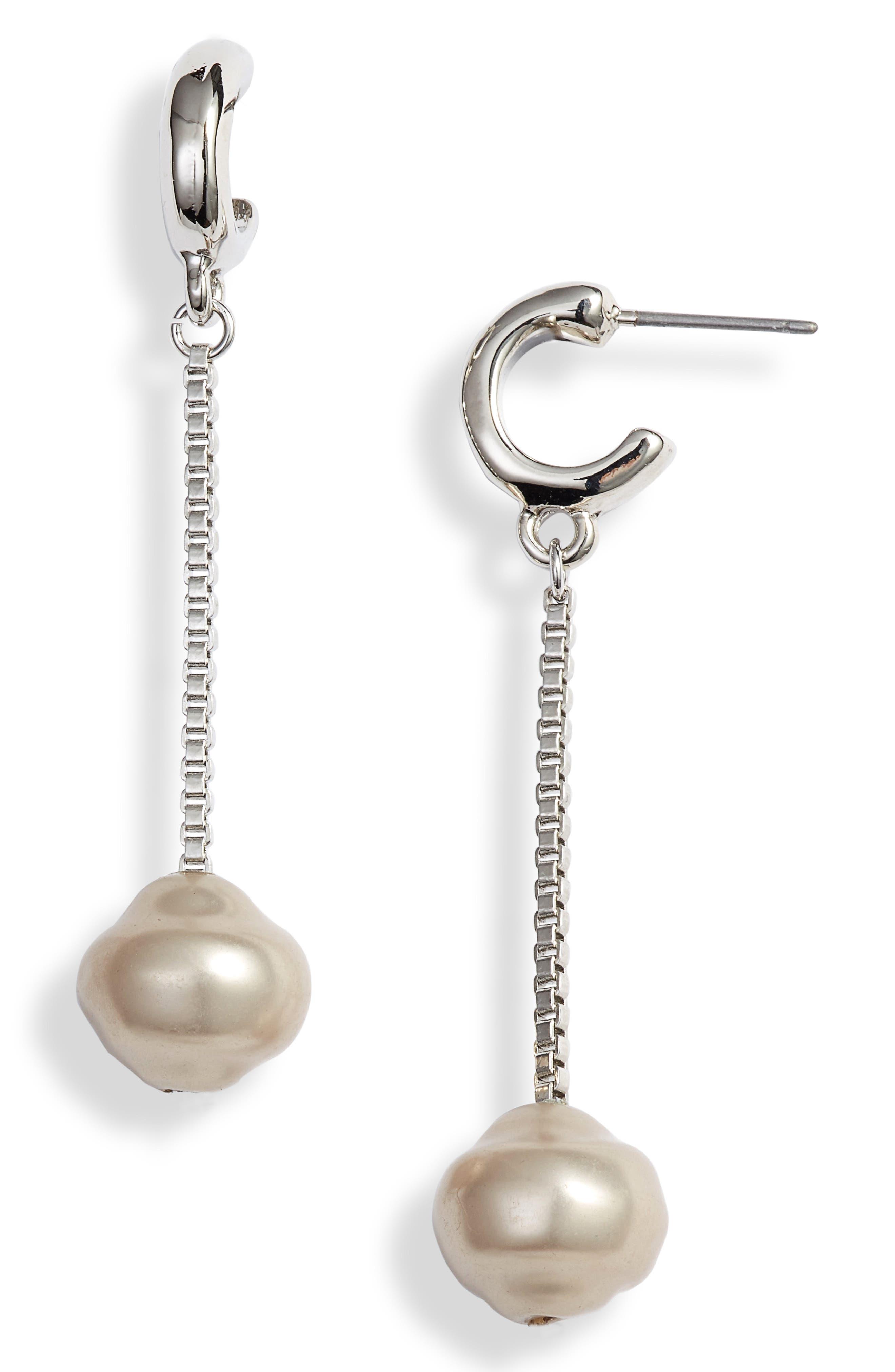 Linear Orb Drop Earrings,                             Main thumbnail 1, color,                             GREY- RHODIUM