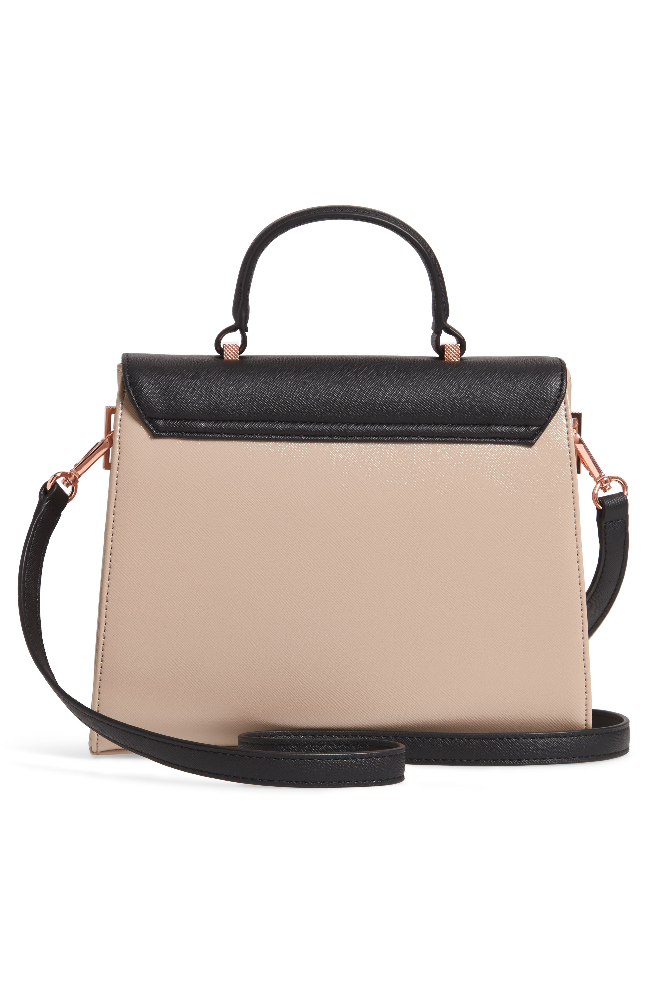 Small Hermine Faux Leather Satchel,                             Alternate thumbnail 3, color,                             020