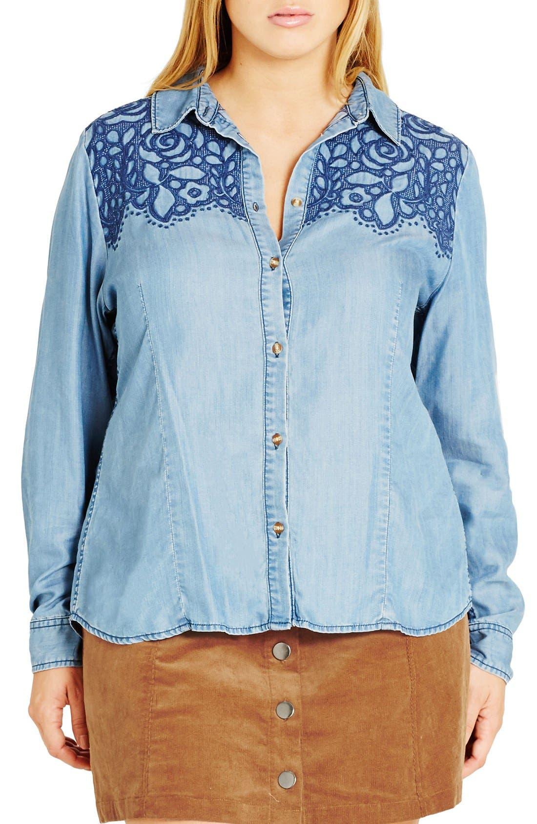 'Rodeo' Embroidered Denim Shirt, Main, color, 409