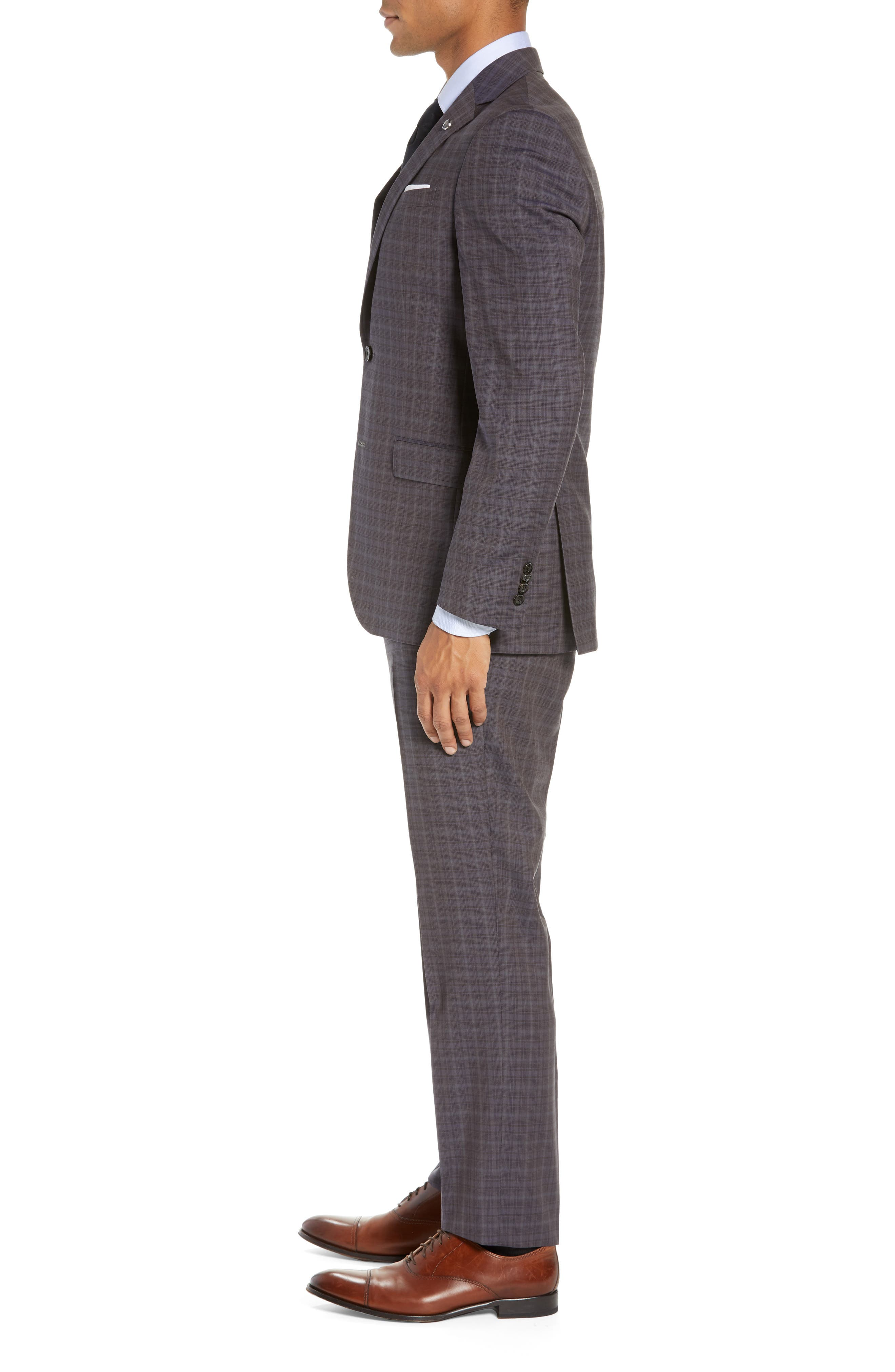 TED BAKER LONDON,                             Jay Trim Fit Plaid Wool Suit,                             Alternate thumbnail 3, color,                             TAUPE