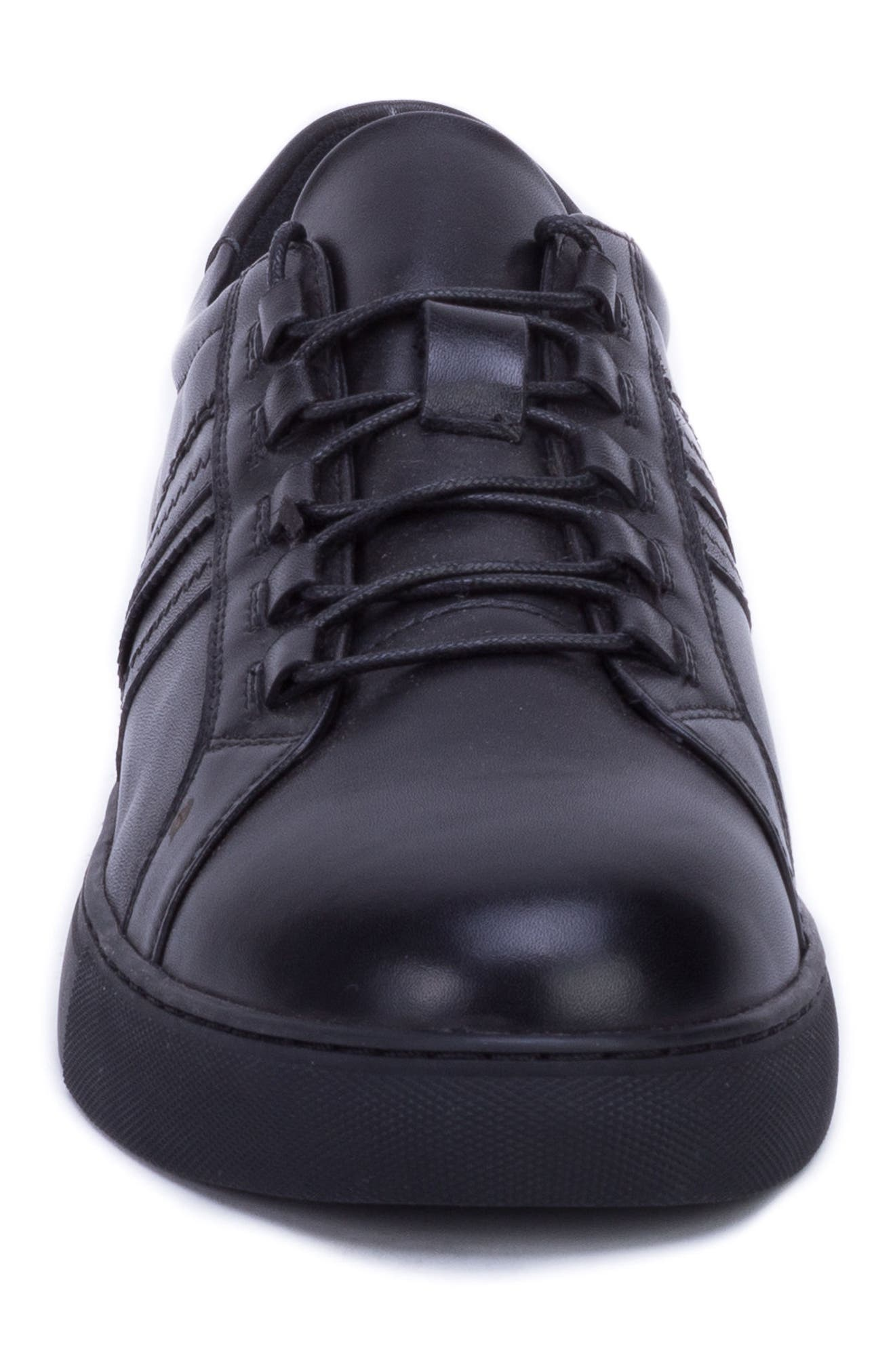 Horton Studded Low Top Sneaker,                             Alternate thumbnail 4, color,                             BLACK LEATHER