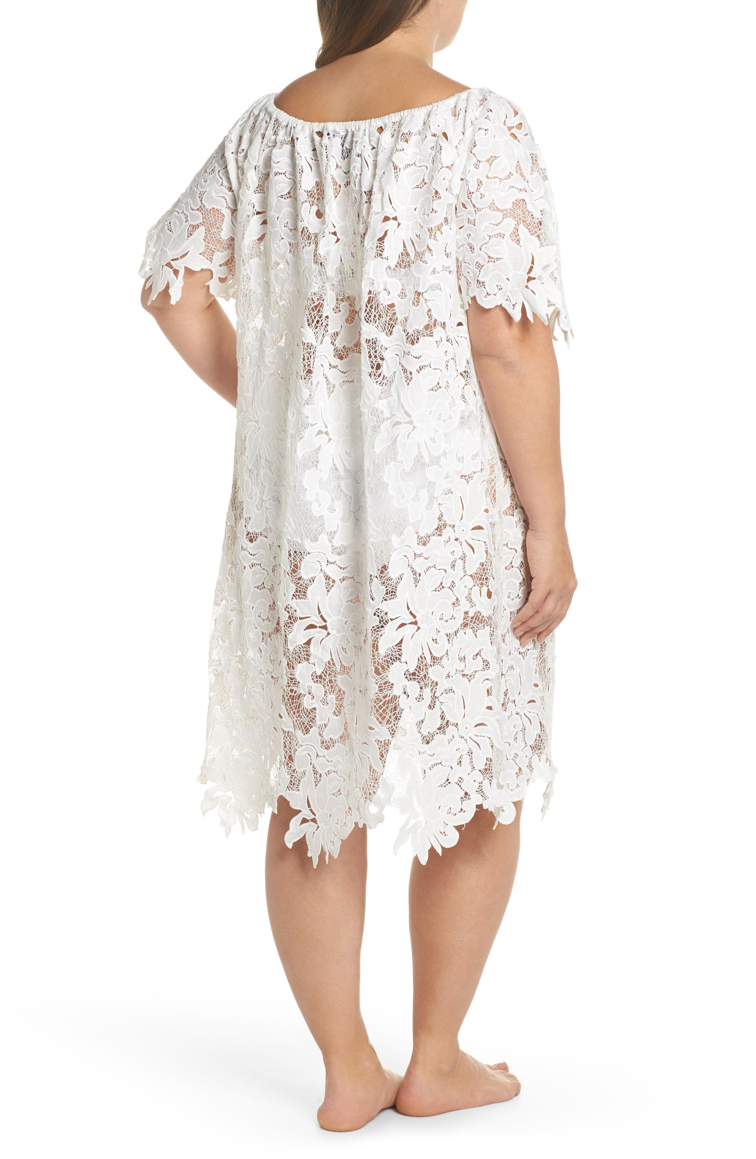 Ode Lace Cover-Up Dress,                             Alternate thumbnail 2, color,                             100