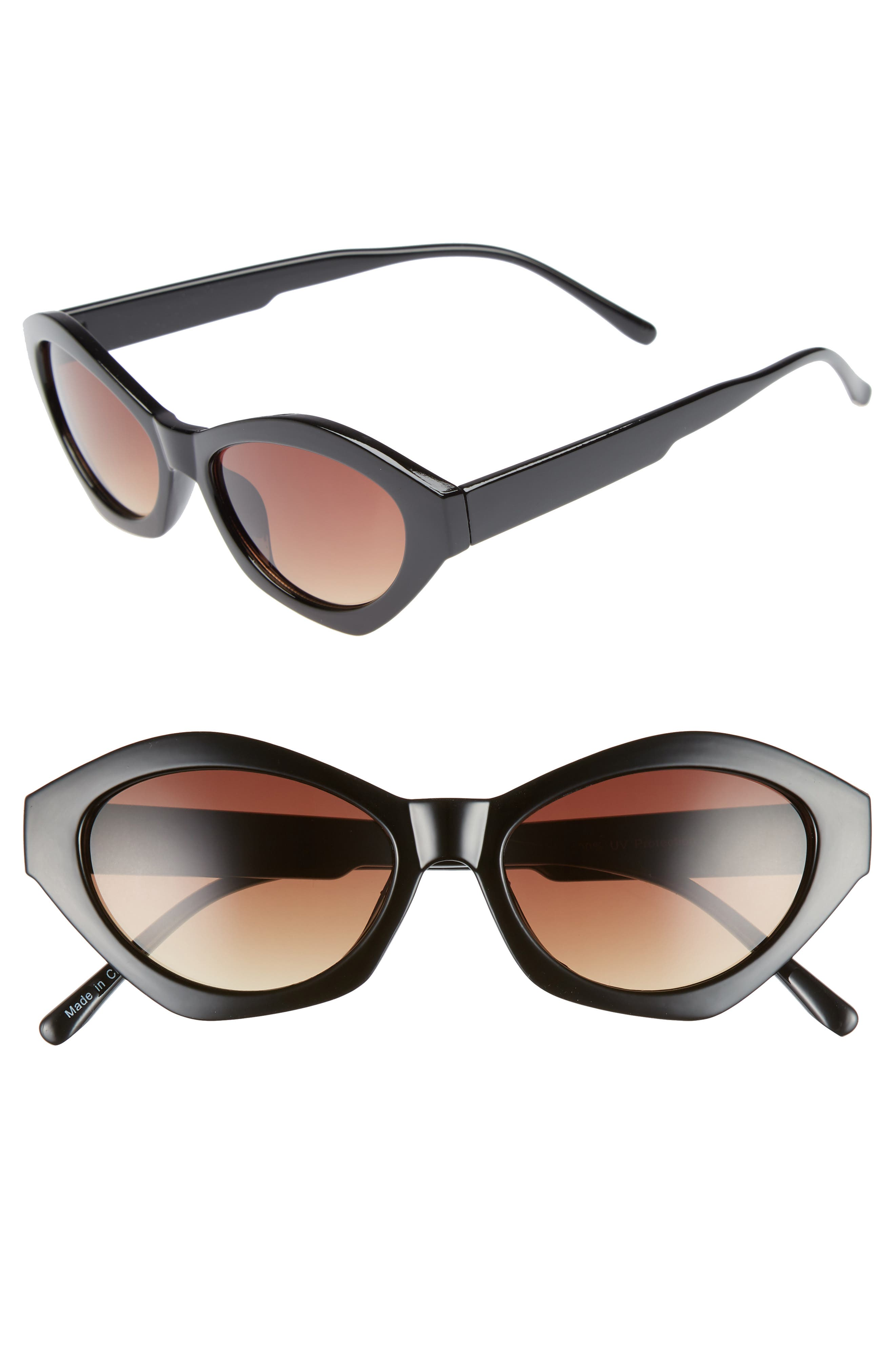 58mm Curved Cat Eye Sunglasses,                             Main thumbnail 1, color,                             001