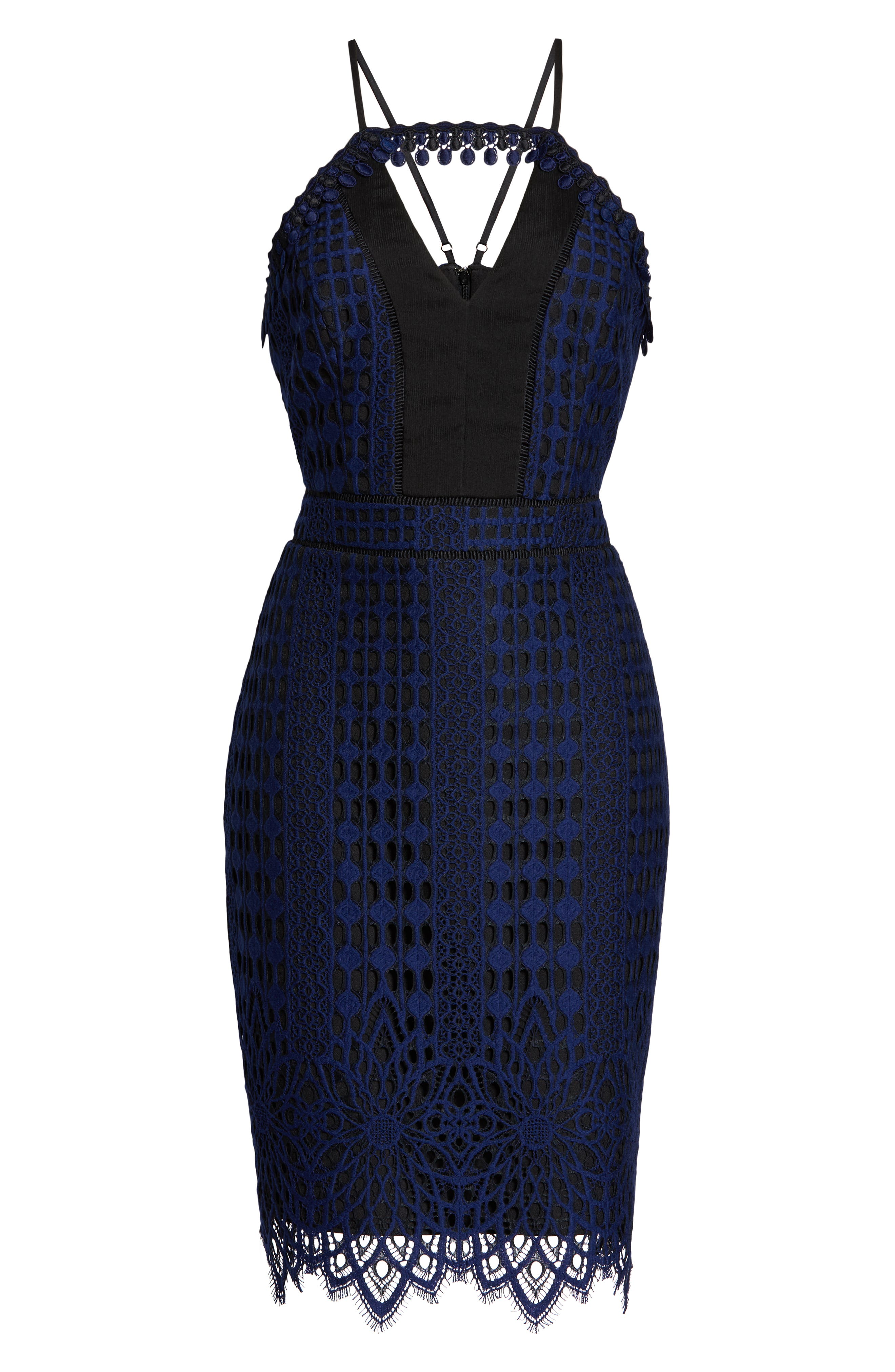 HARLYN,                             Contrast Chiffon Lace Halter Body-Con Dress,                             Alternate thumbnail 7, color,                             NAVY