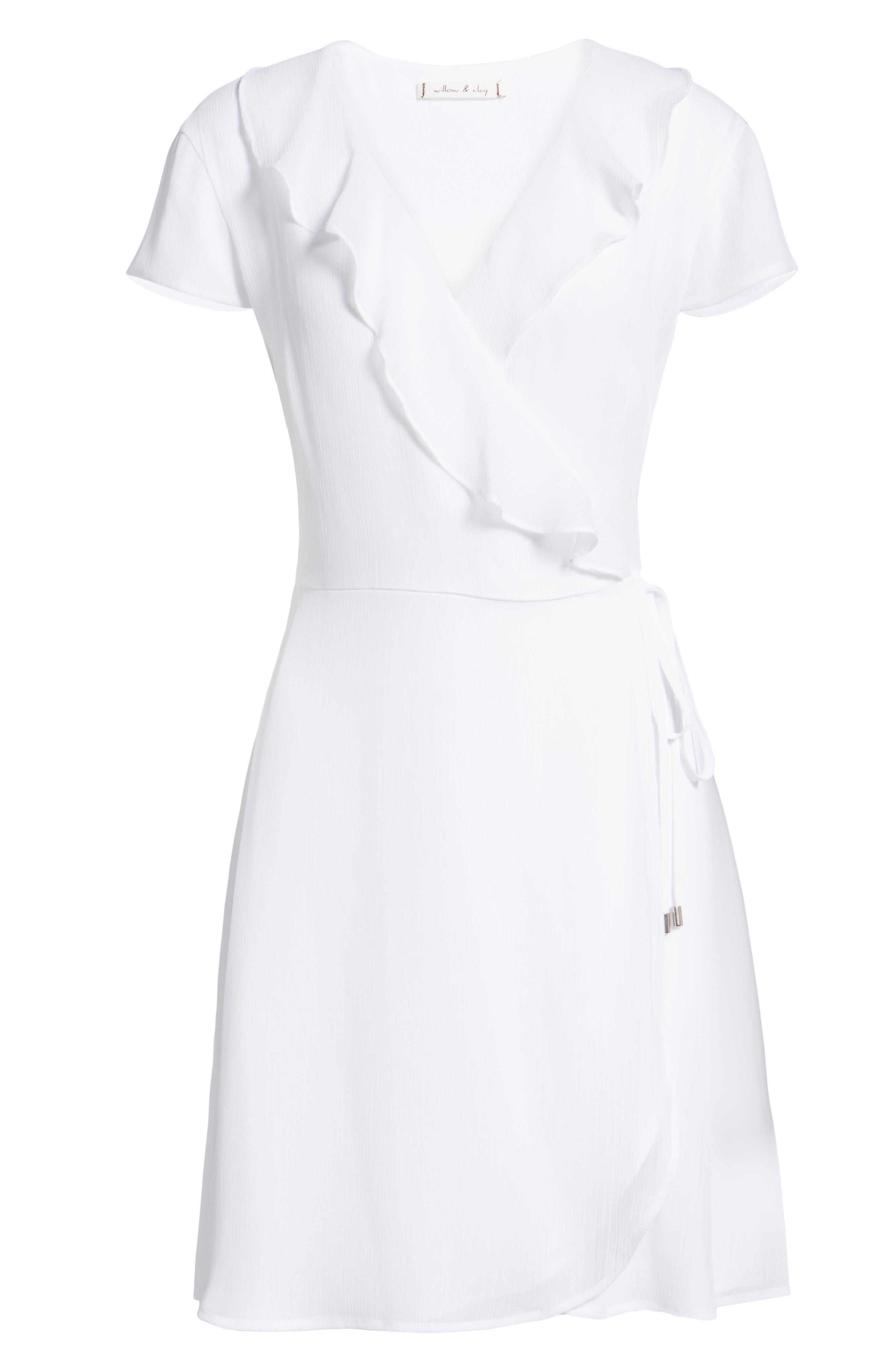 Ruffle Wrap Dress,                             Alternate thumbnail 6, color,                             100