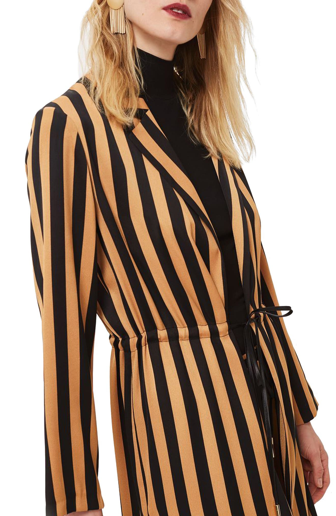 TOPSHOP,                             Stripe Duster Jacket,                             Main thumbnail 1, color,                             201