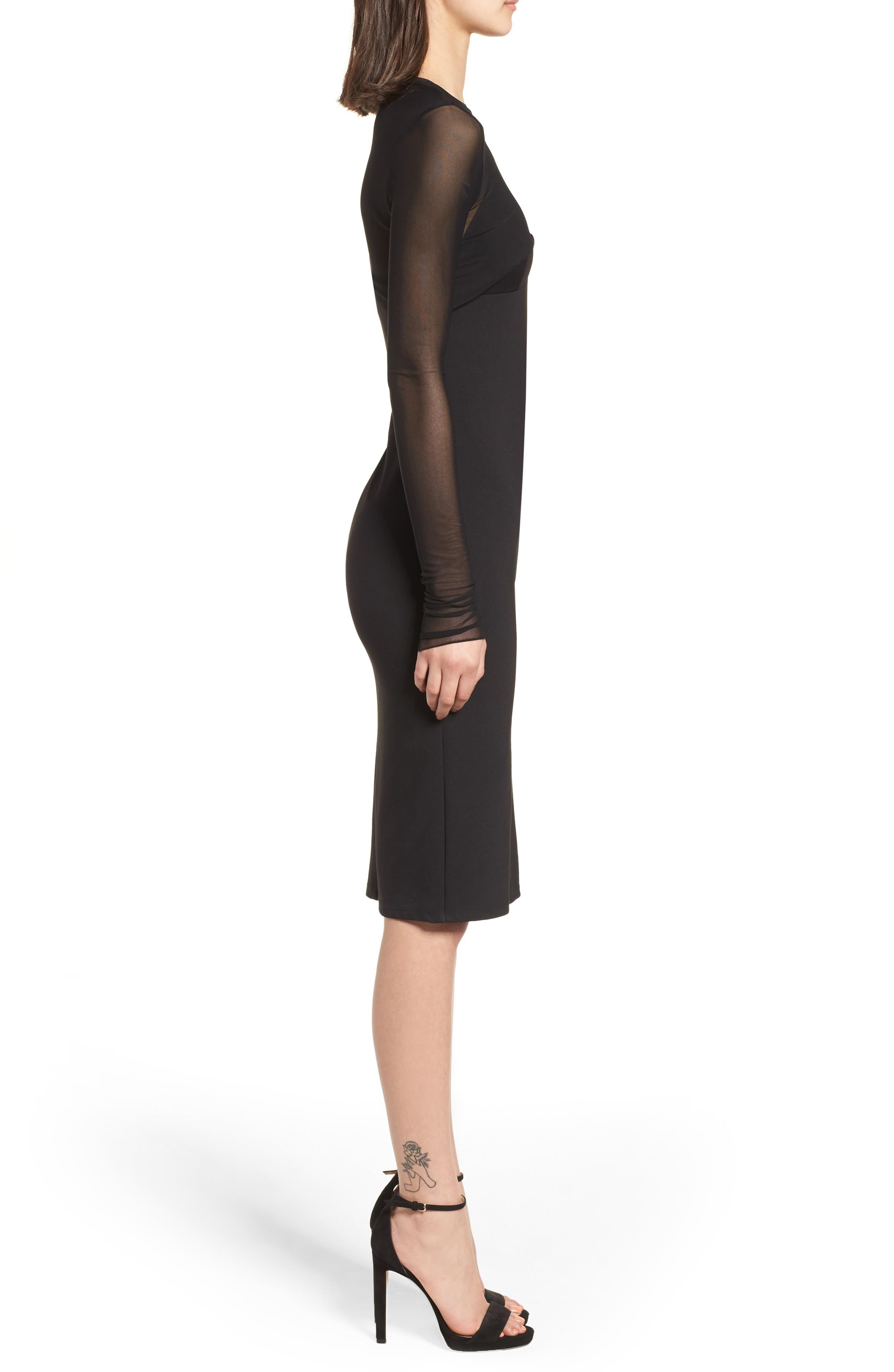 Mesh Overlay Sheath Dress,                             Alternate thumbnail 3, color,                             001