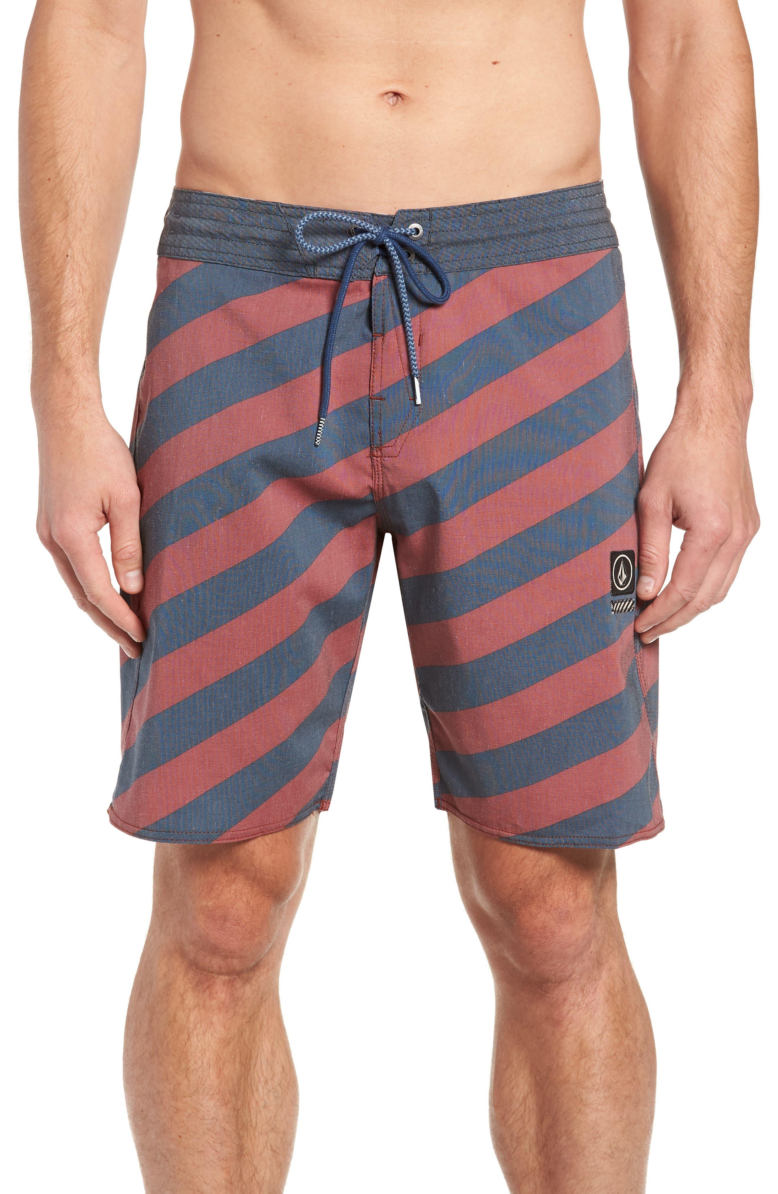 Stripey Stoney Boardshorts,                         Main,                         color, RUST
