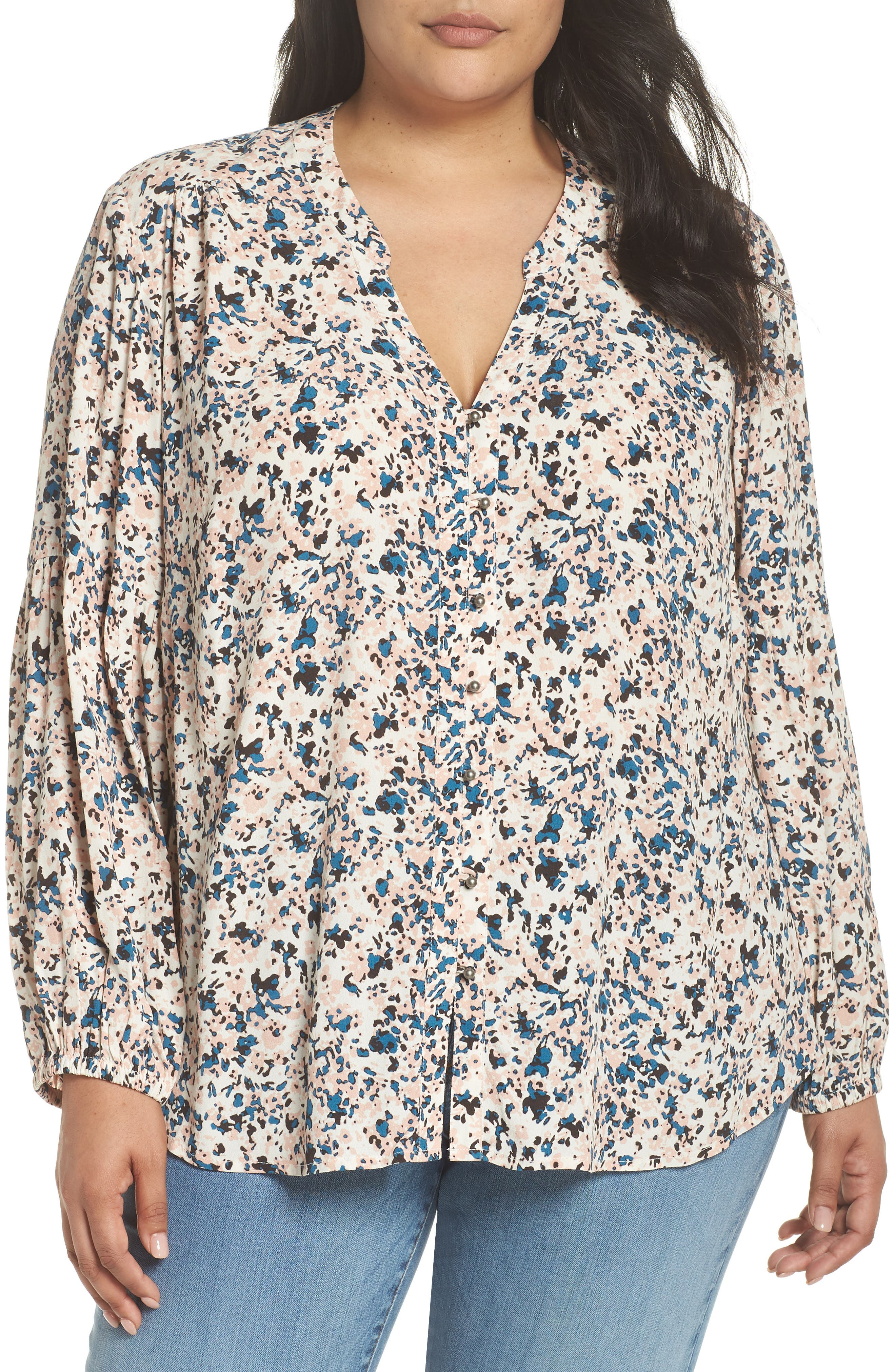 Button-Up Patterned Top,                         Main,                         color, IVORY- PINK PIONEER FLORAL