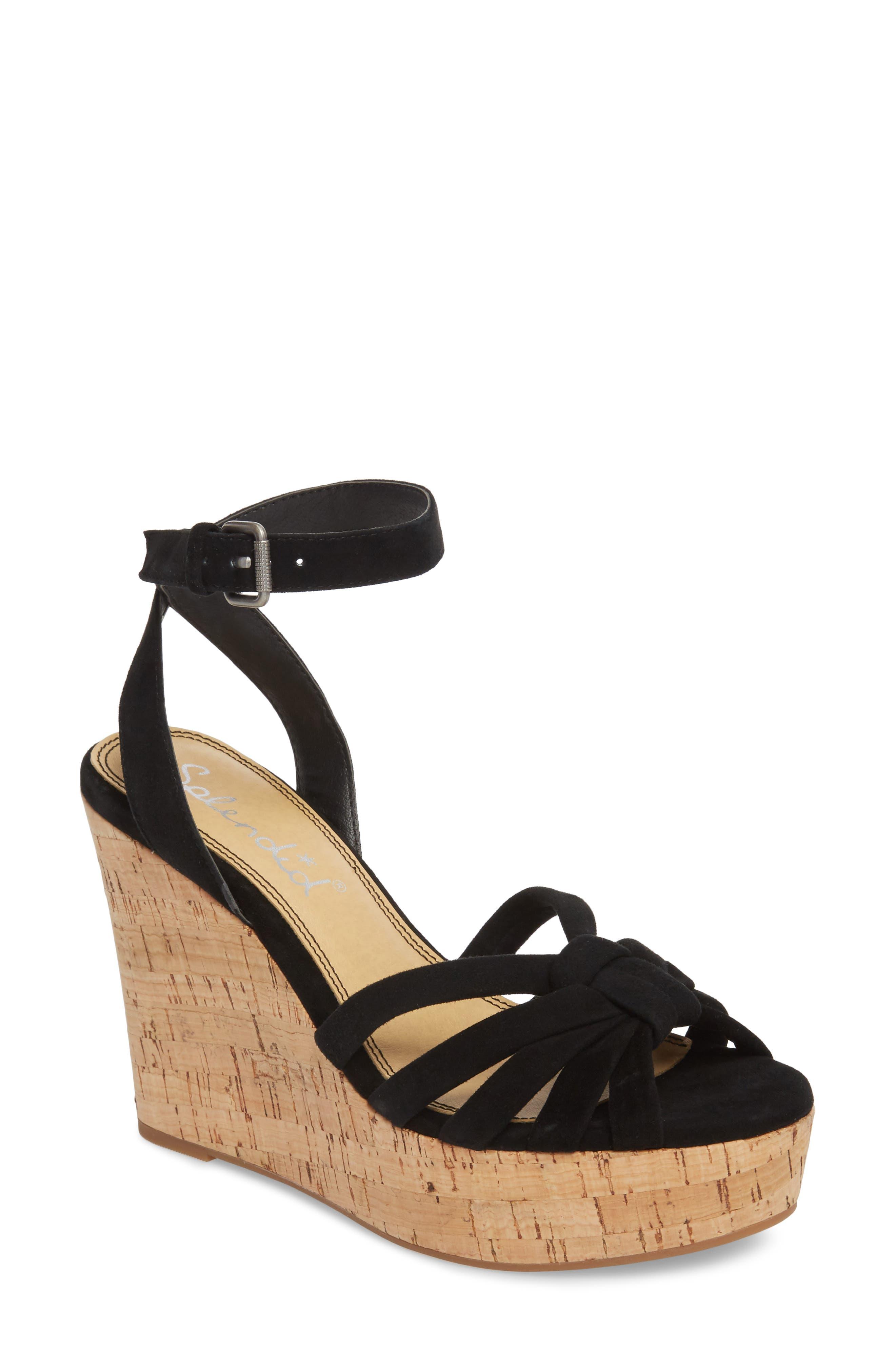 Fallon Wedge Sandal,                         Main,                         color, BLACK SUEDE
