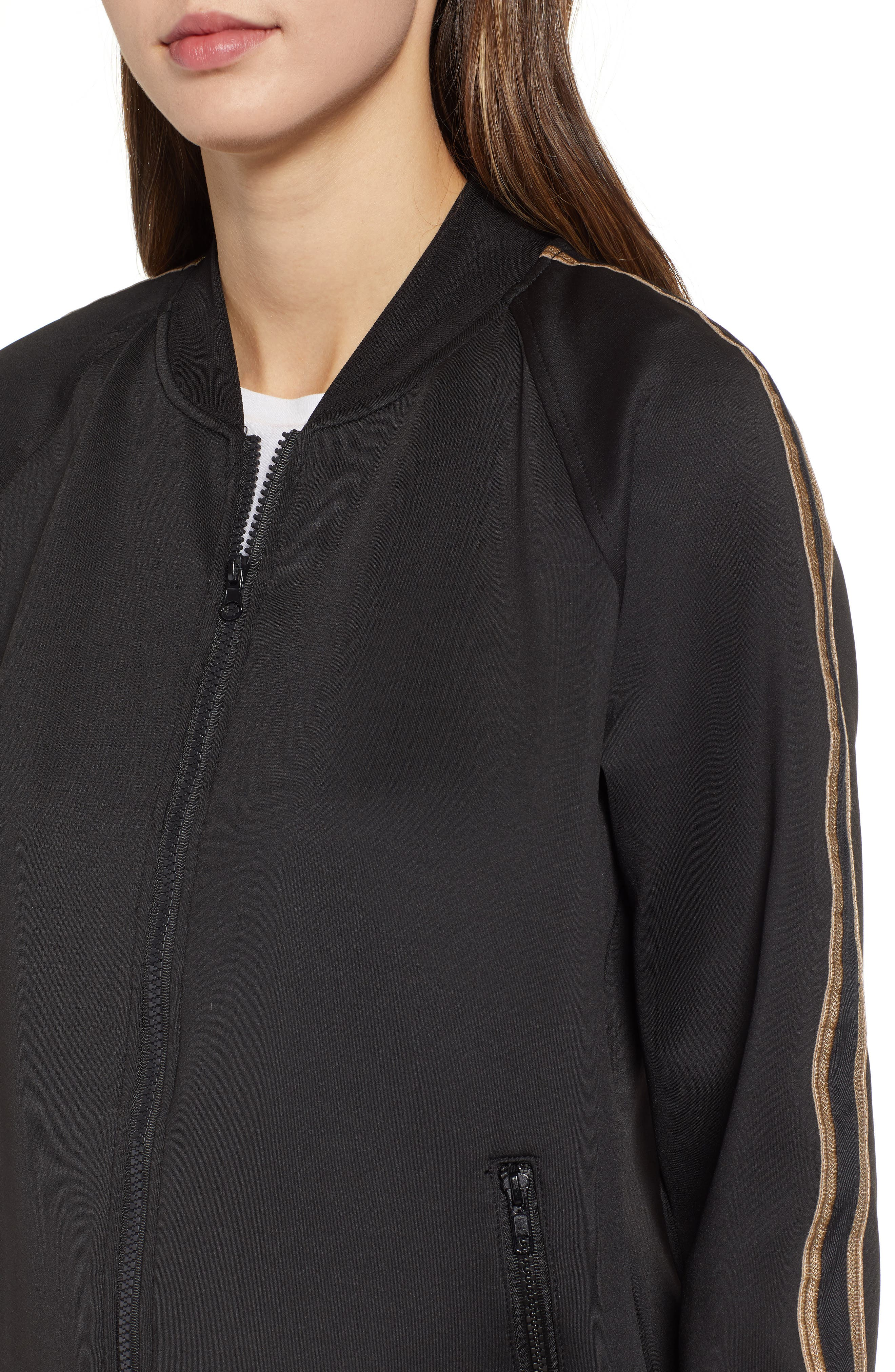 Metallic Stripe Track Jacket,                             Alternate thumbnail 4, color,                             BLACK