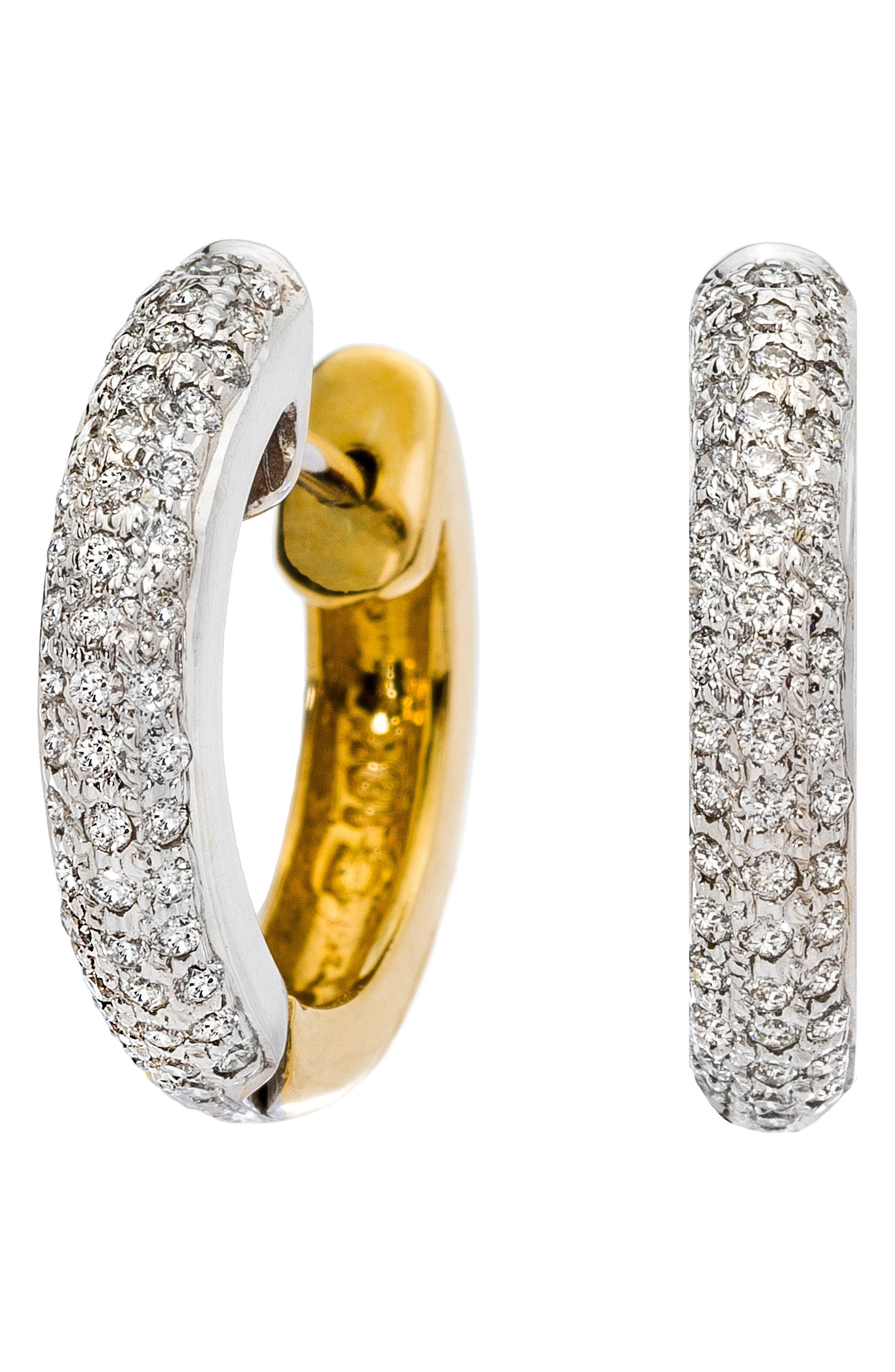SETHI COUTURE Reversible Huggie Earrings in White Gold/ Diamond