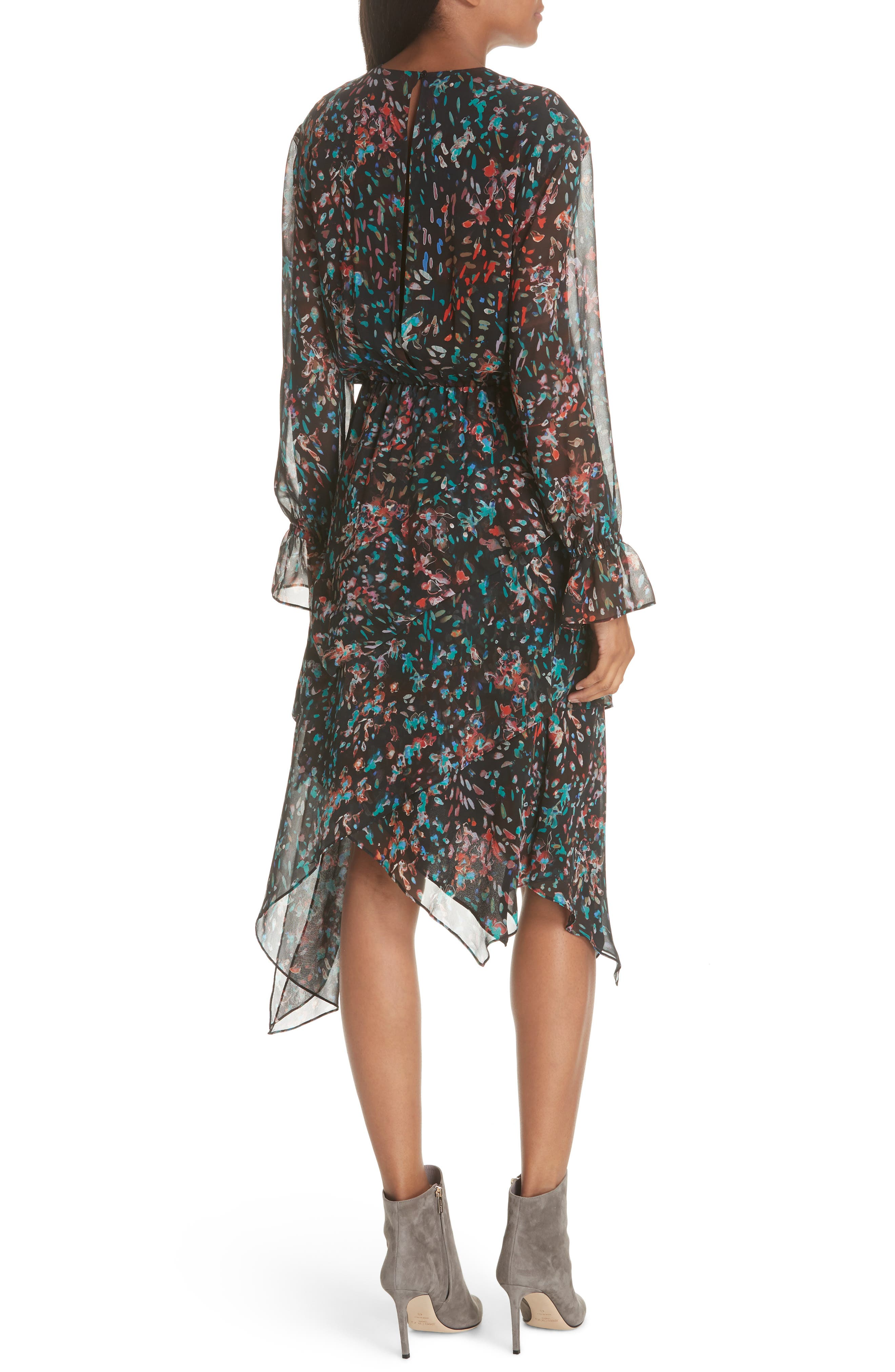 Print Asymmetrical Dress,                             Alternate thumbnail 2, color,                             BLACK