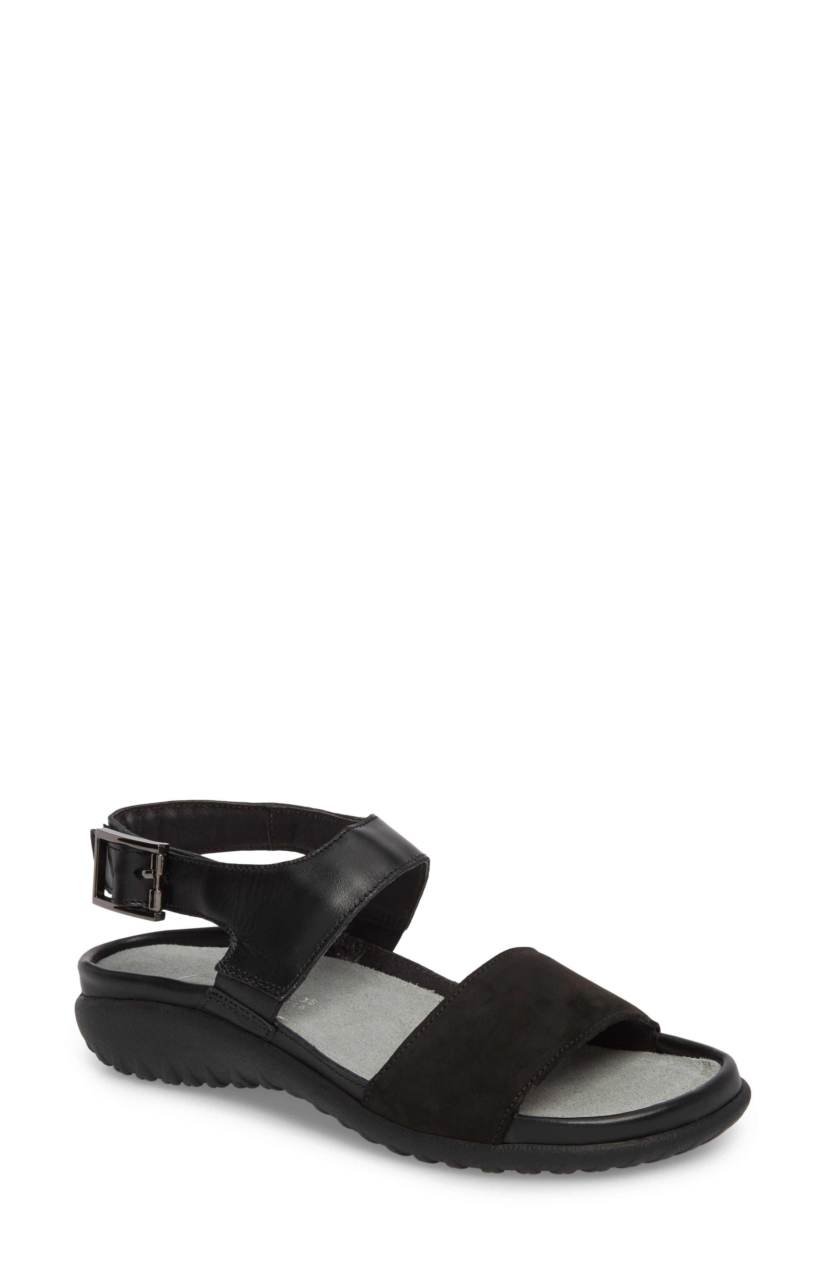Haki Sandal,                         Main,                         color, BLACK LEATHER