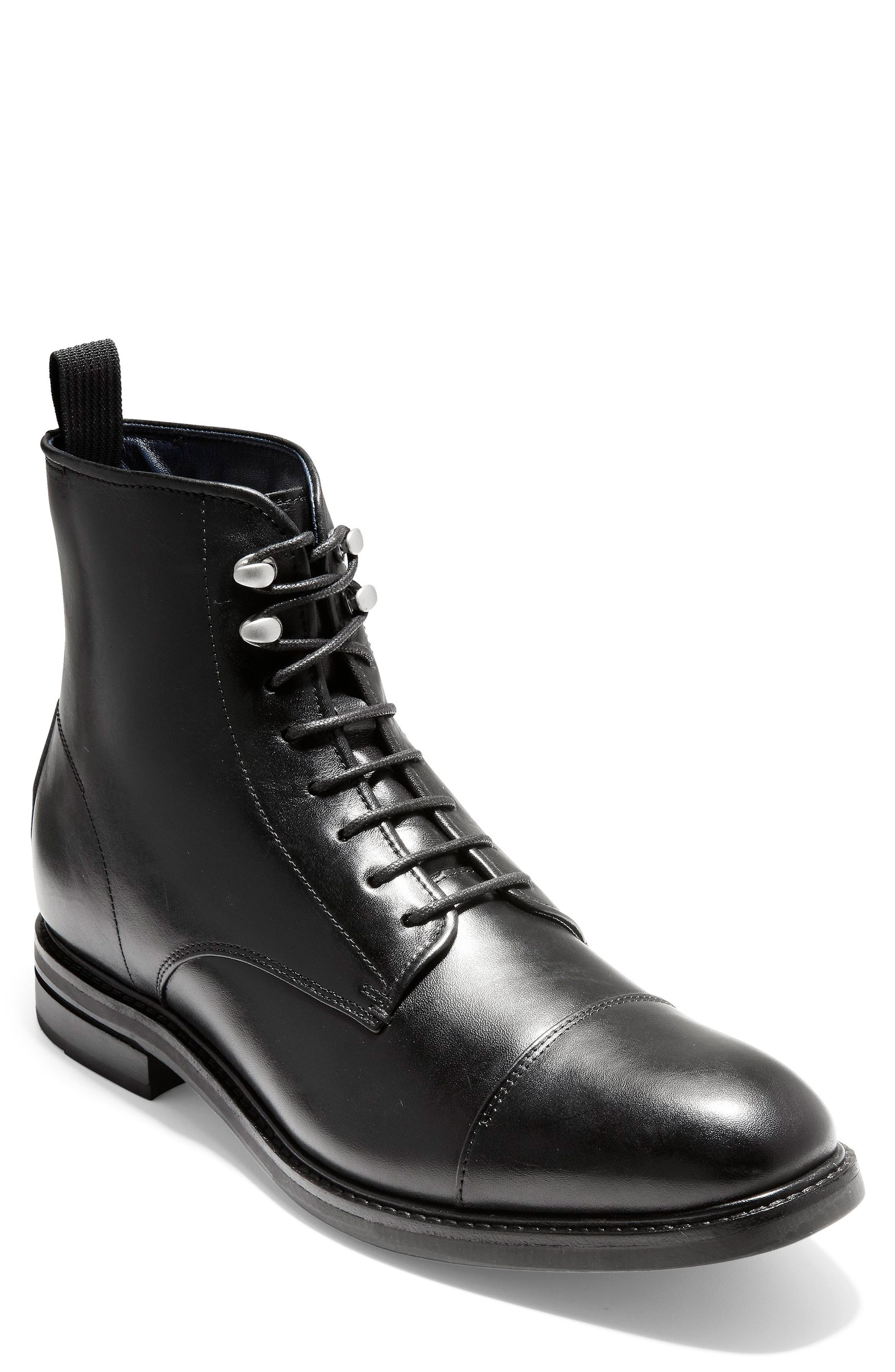 Wagner Grand Cap Toe Boot,                             Main thumbnail 1, color,                             BLACK LEATHER