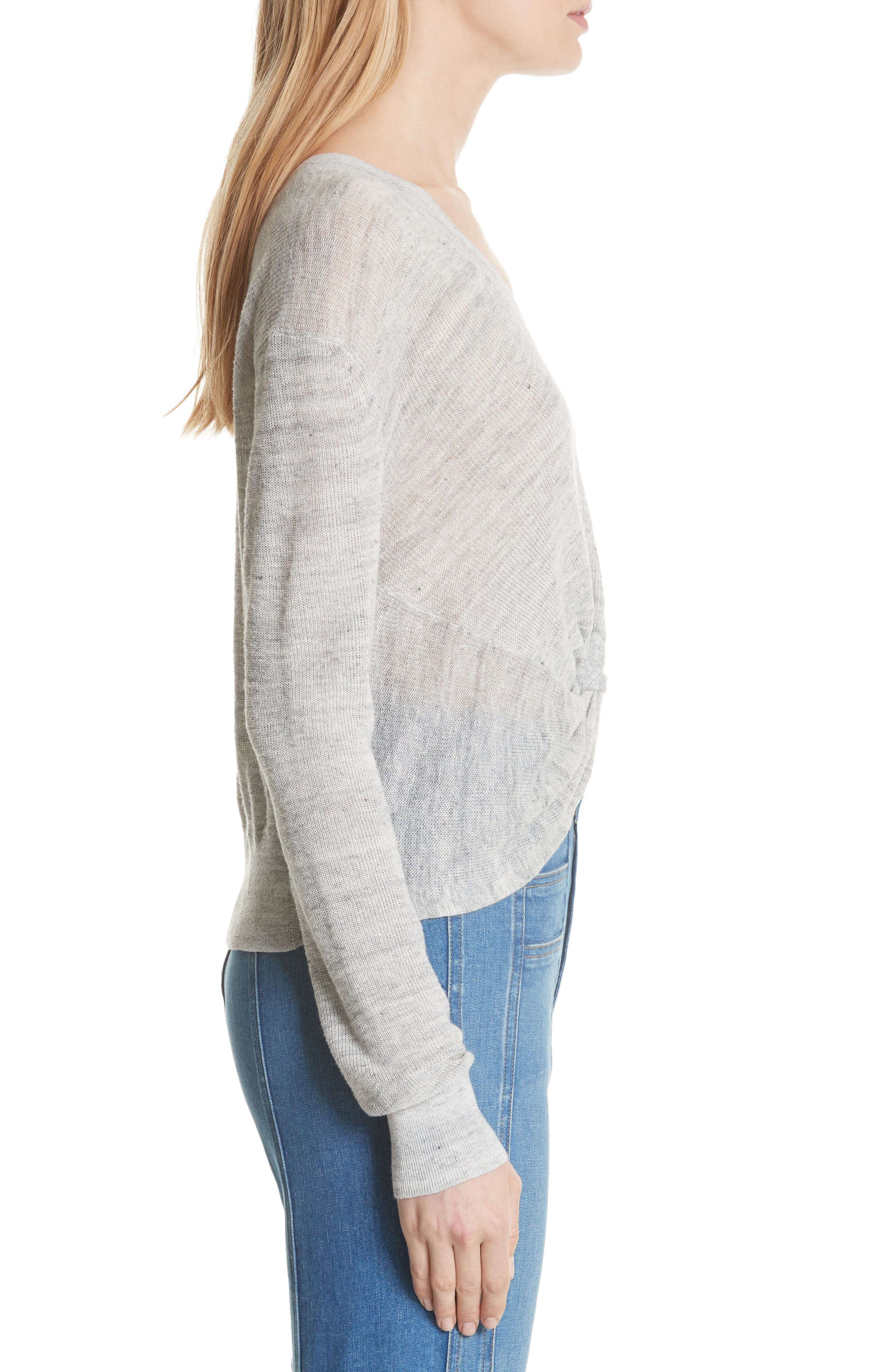 Soren Twist Front Linen Blend Sweater,                             Alternate thumbnail 3, color,