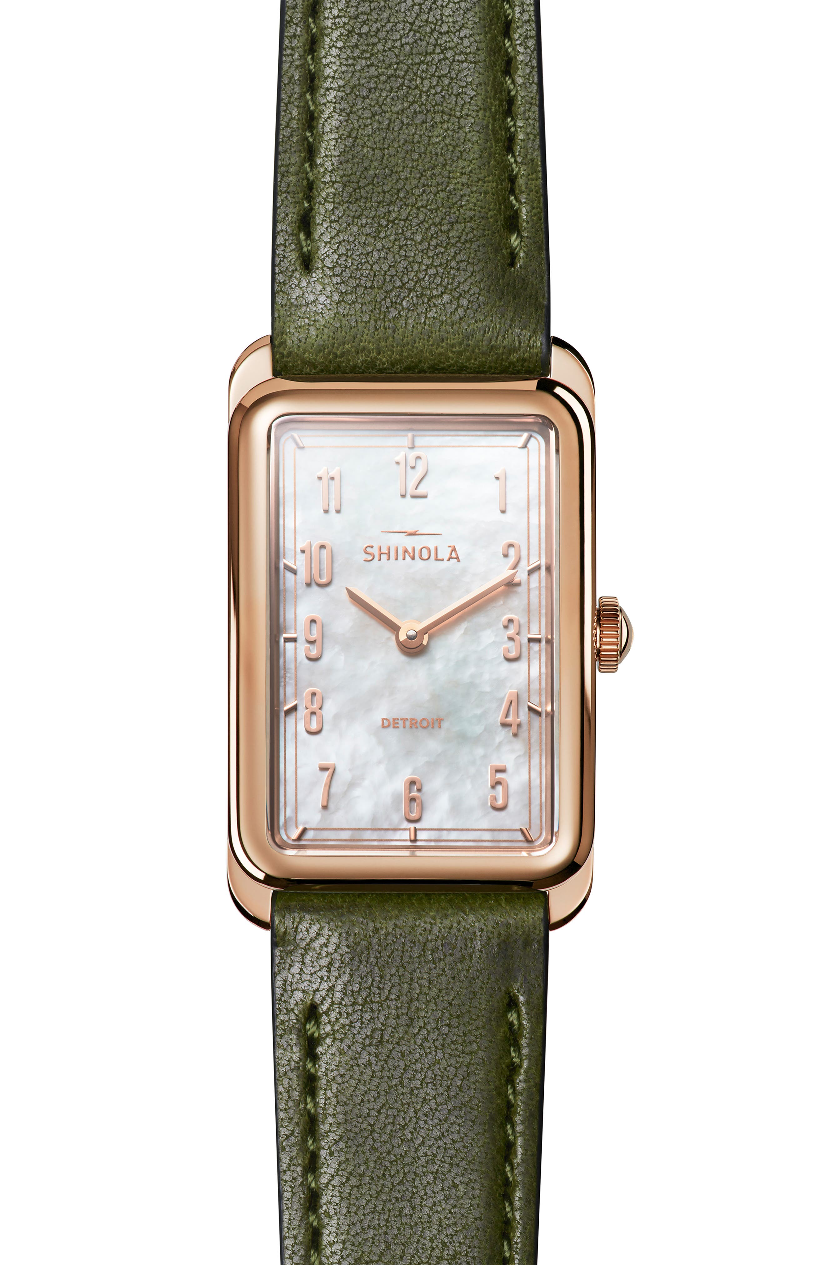 The Muldowney Rectangular Leather Strap Watch, 24mm x 32mm,                             Main thumbnail 4, color,