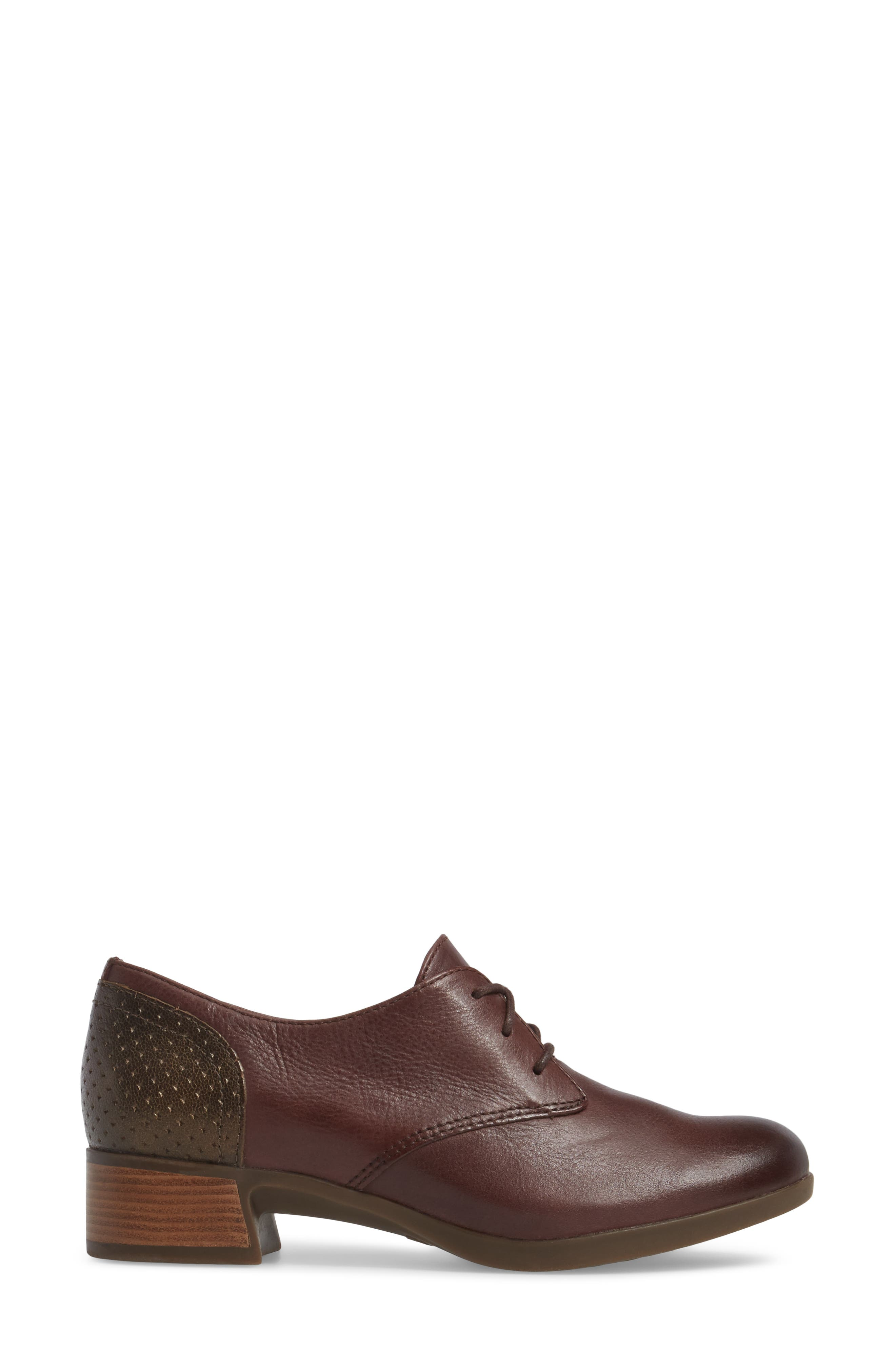 'Louise' Round Toe Derby,                             Alternate thumbnail 3, color,                             WINE BURNISHED LEATHER