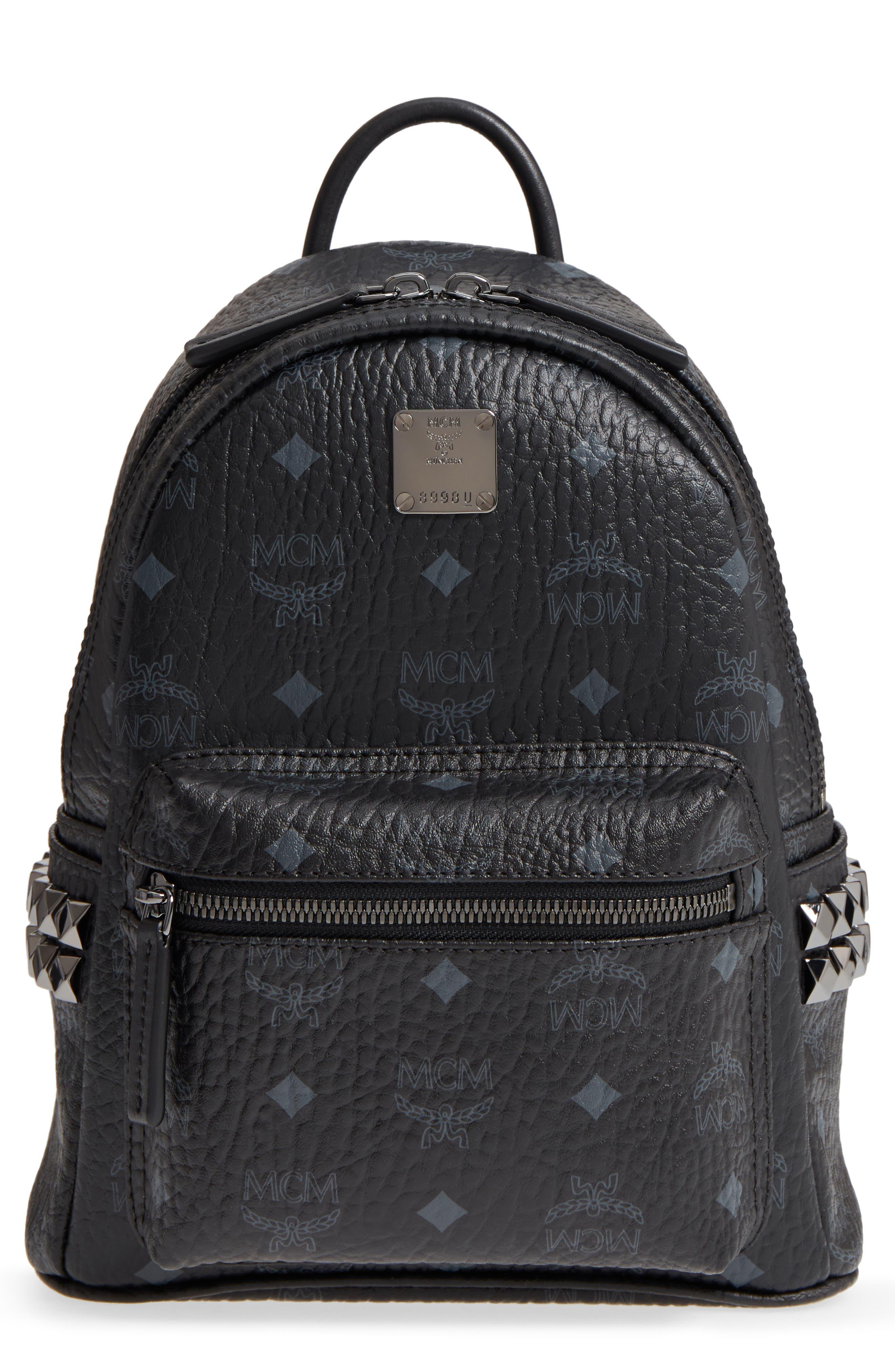 Mini Stark Side Stud Coated Canvas Backpack,                             Main thumbnail 1, color,                             BLACK