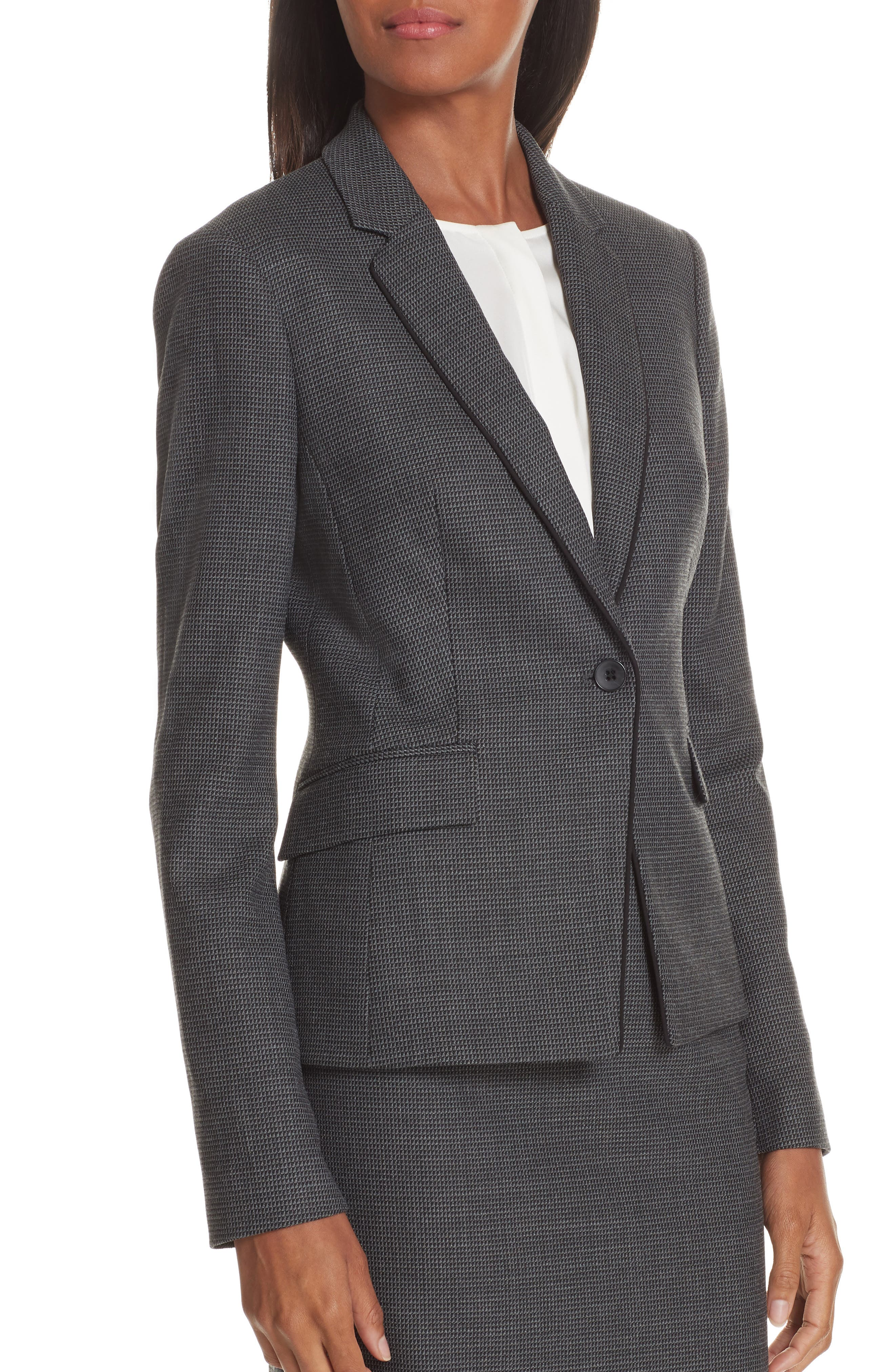 Jorita Geometric Wool Blend Suit Jacket,                             Alternate thumbnail 4, color,                             GREY FANTASY