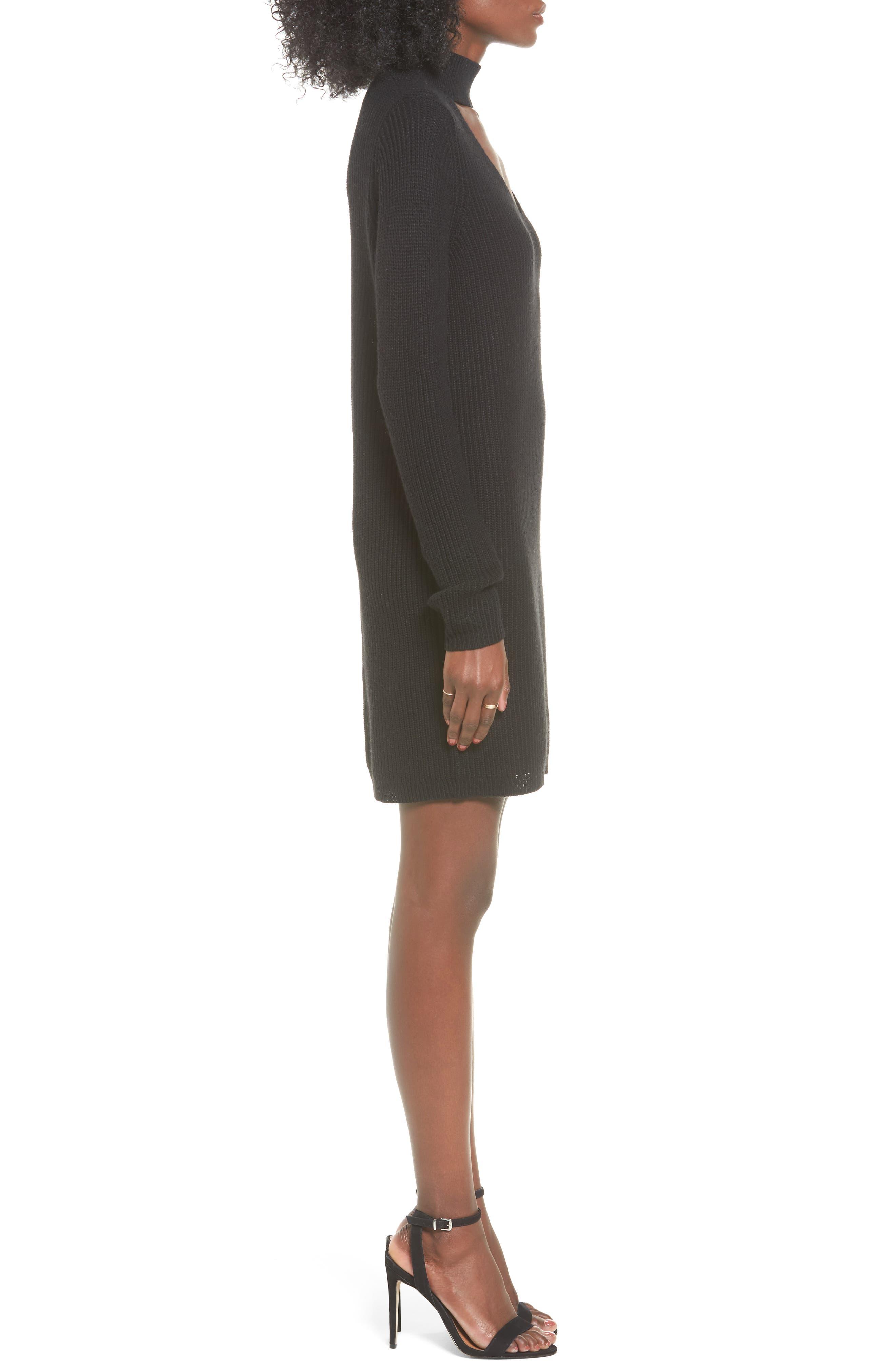 BP Cutout Choker Sweater Dress,                             Alternate thumbnail 3, color,                             001