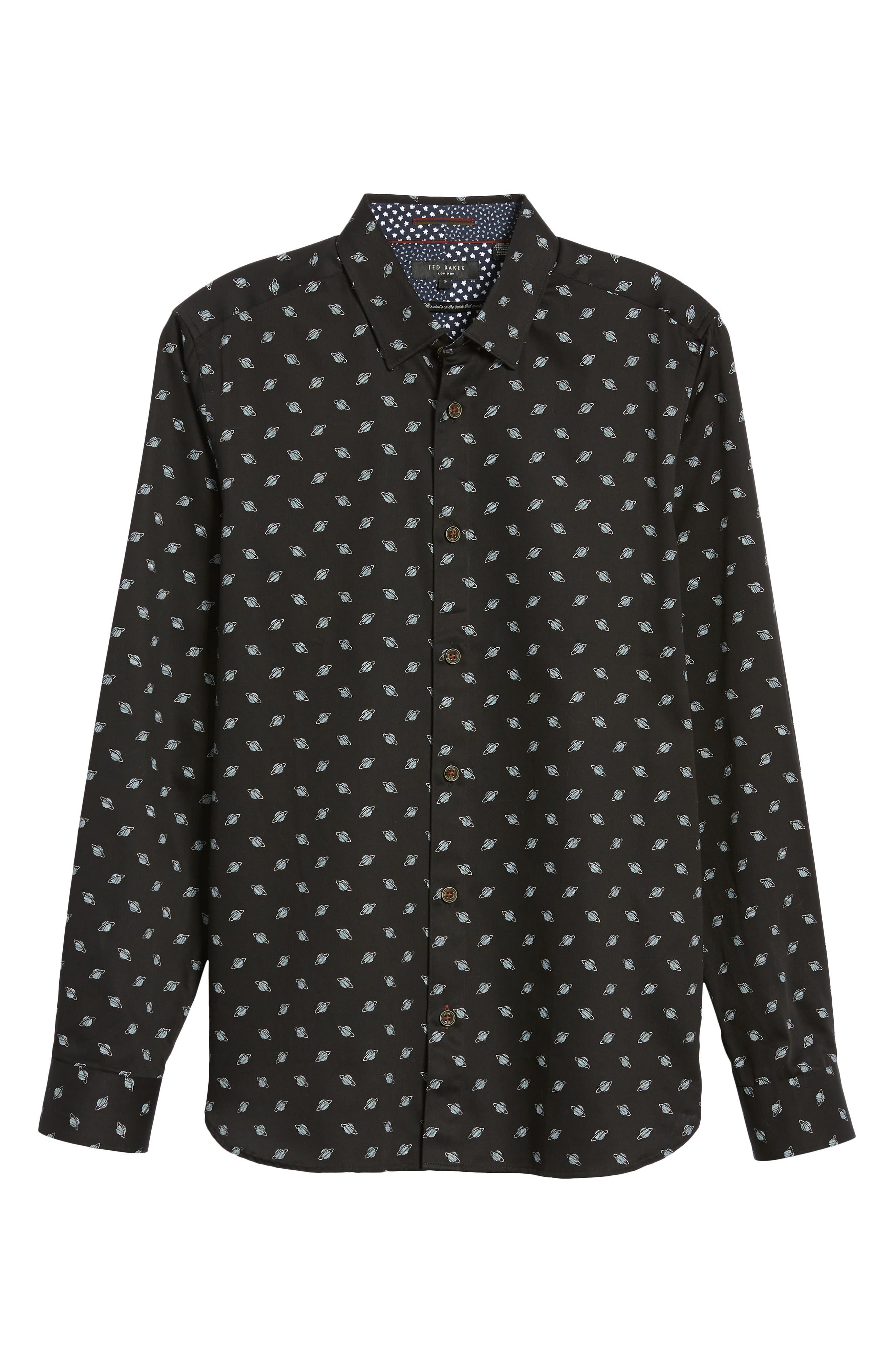 Greenpa Slim Fit Print Sport Shirt,                             Alternate thumbnail 5, color,                             BLACK