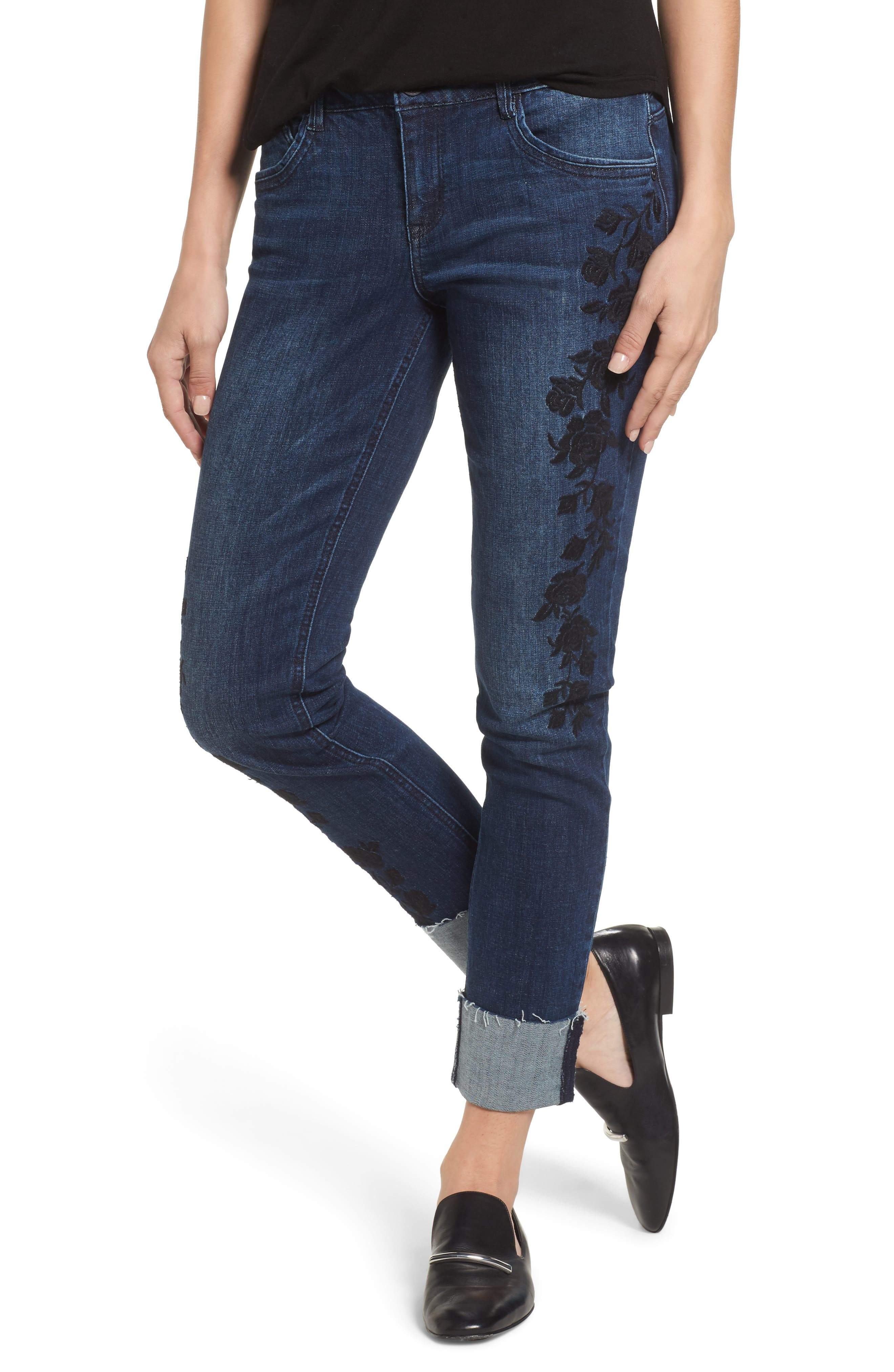 Flexellent Embroidered Boyfriend Jeans,                             Main thumbnail 1, color,                             BLUE