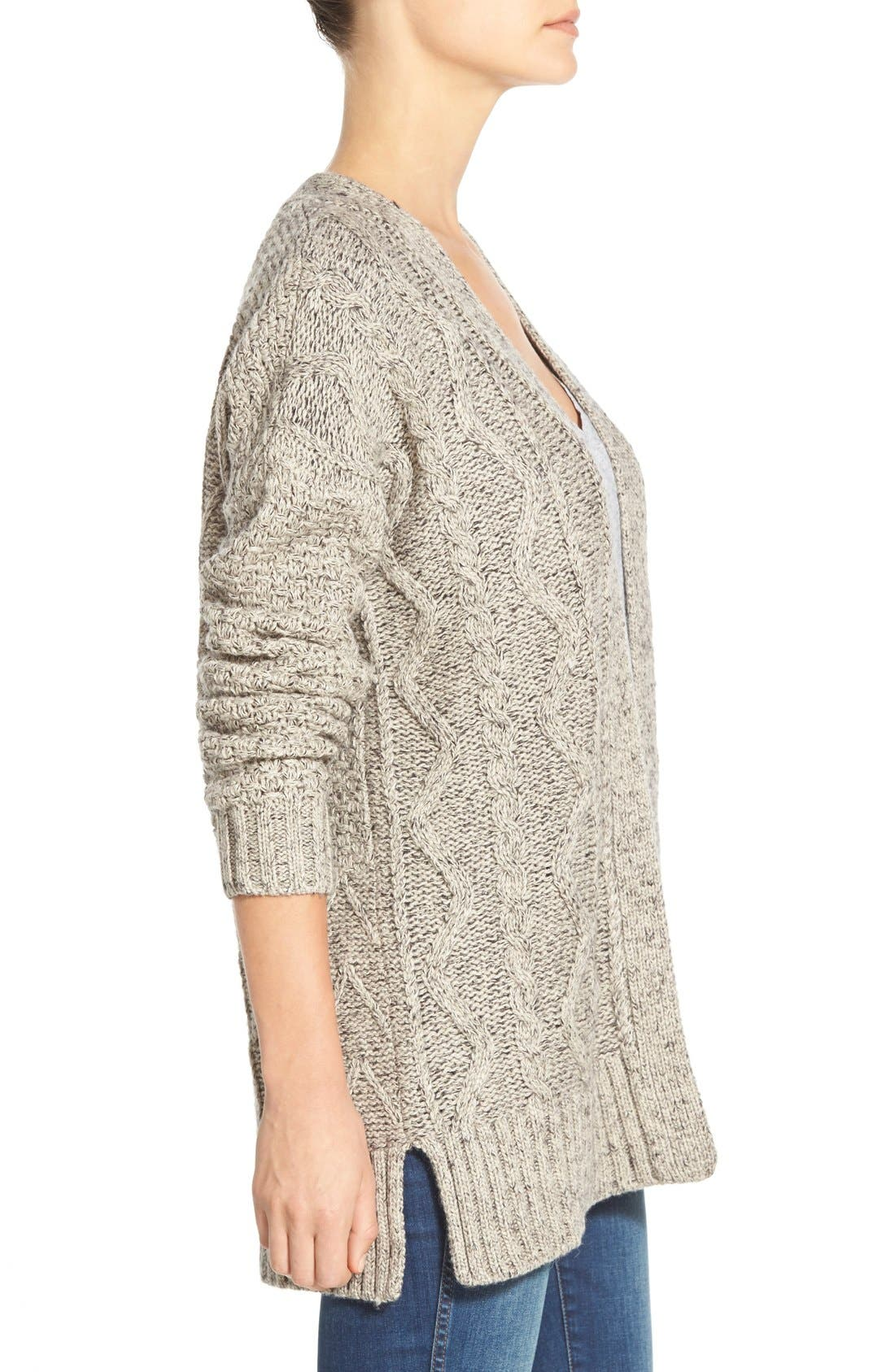 Marled Panel Stitch Open Front Cardigan,                             Alternate thumbnail 2, color,                             250