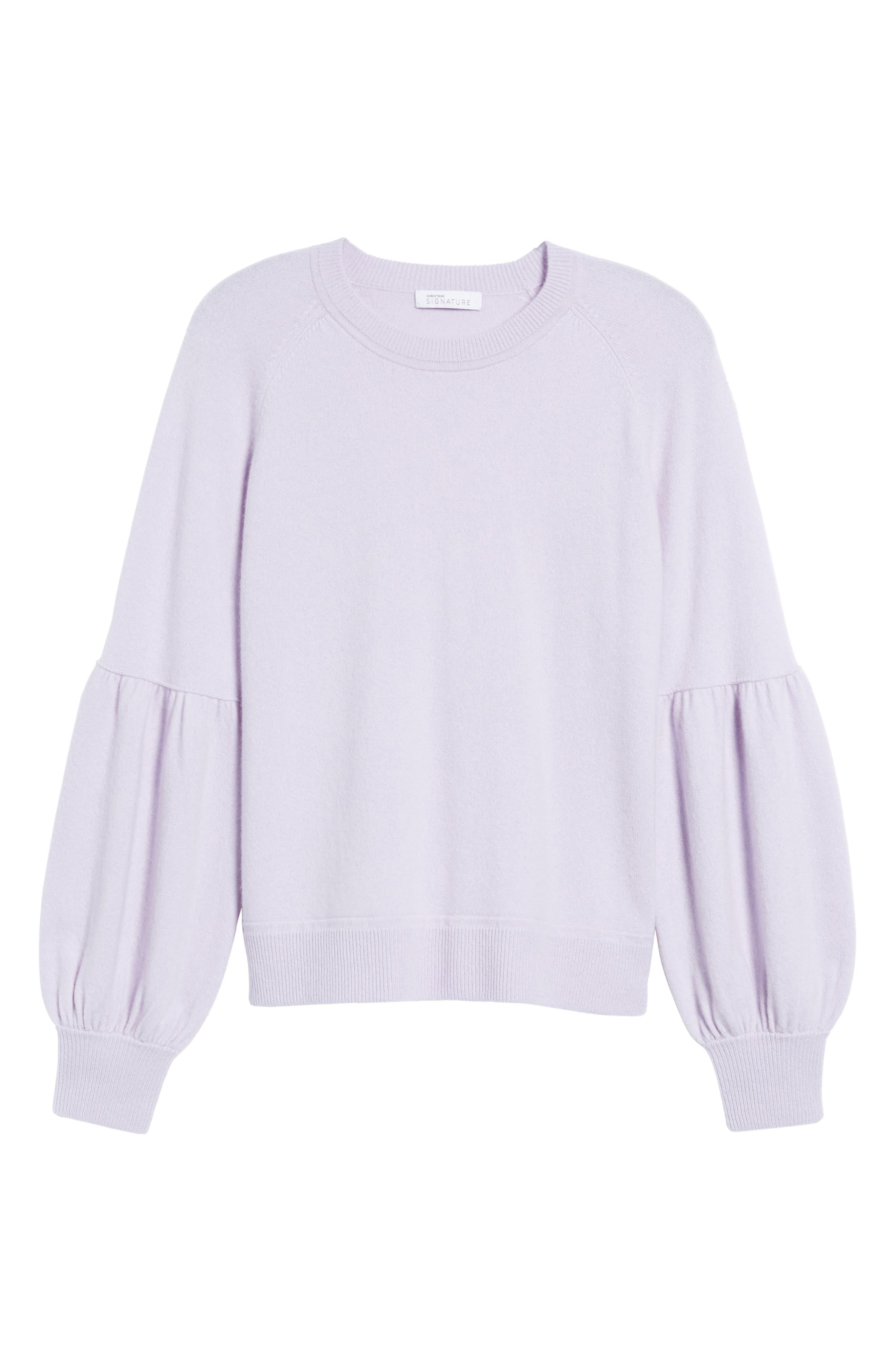 Blouson Sleeve Cashmere Blend Sweater,                             Alternate thumbnail 6, color,