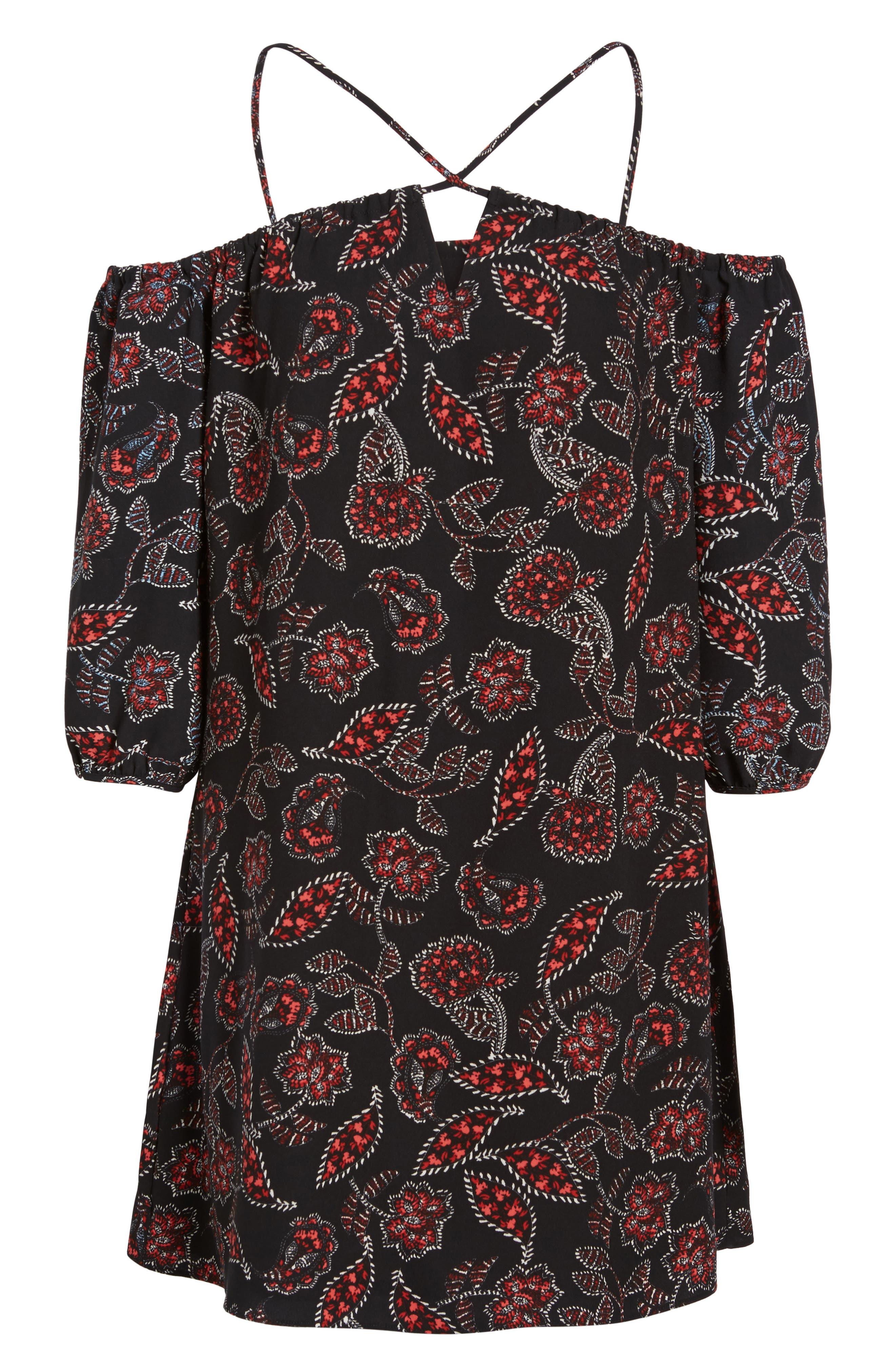 Ellinor Cold Shoulder Dress,                             Alternate thumbnail 5, color,                             001
