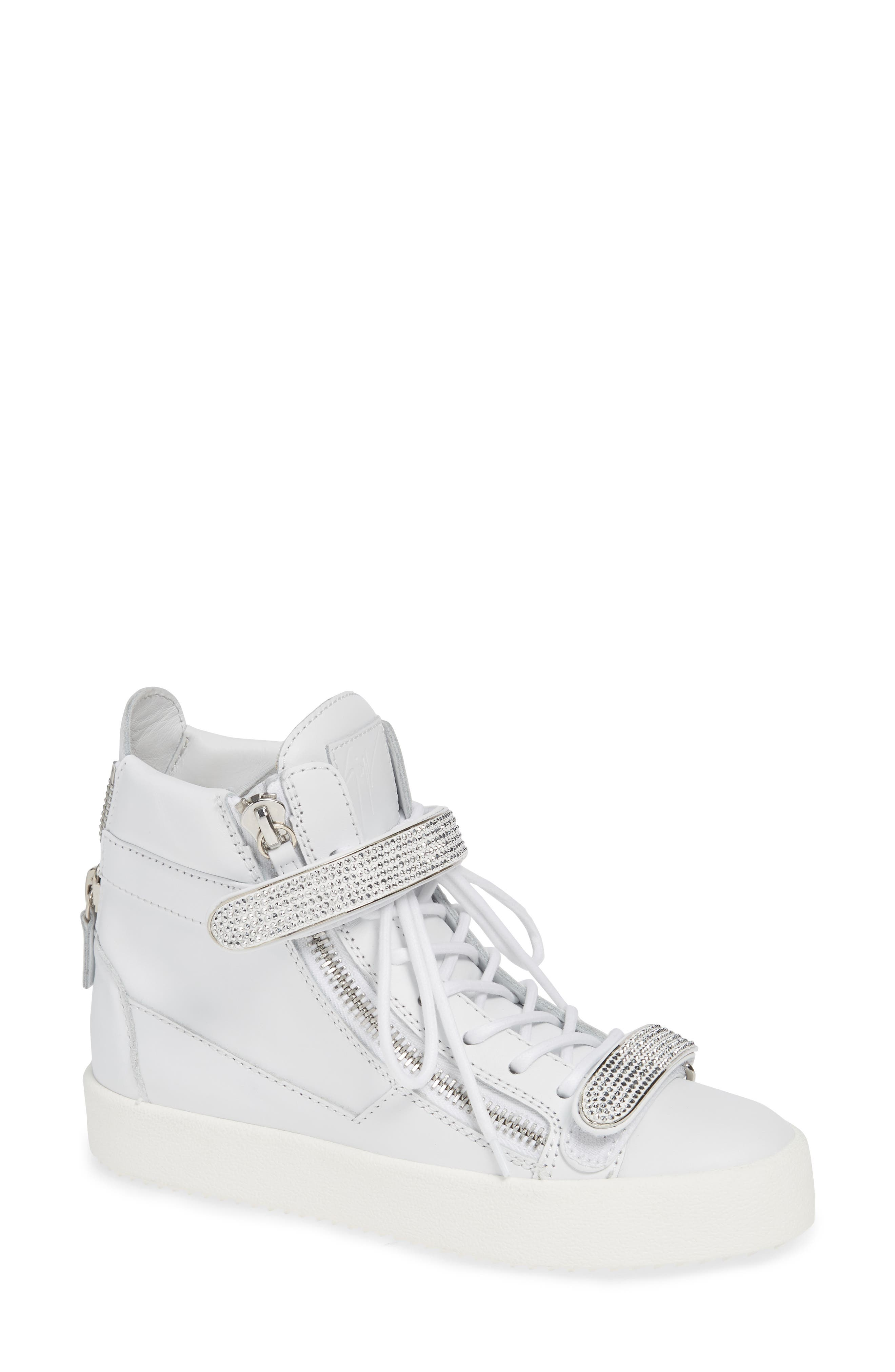 May London Jewel Wedge Sneaker in White