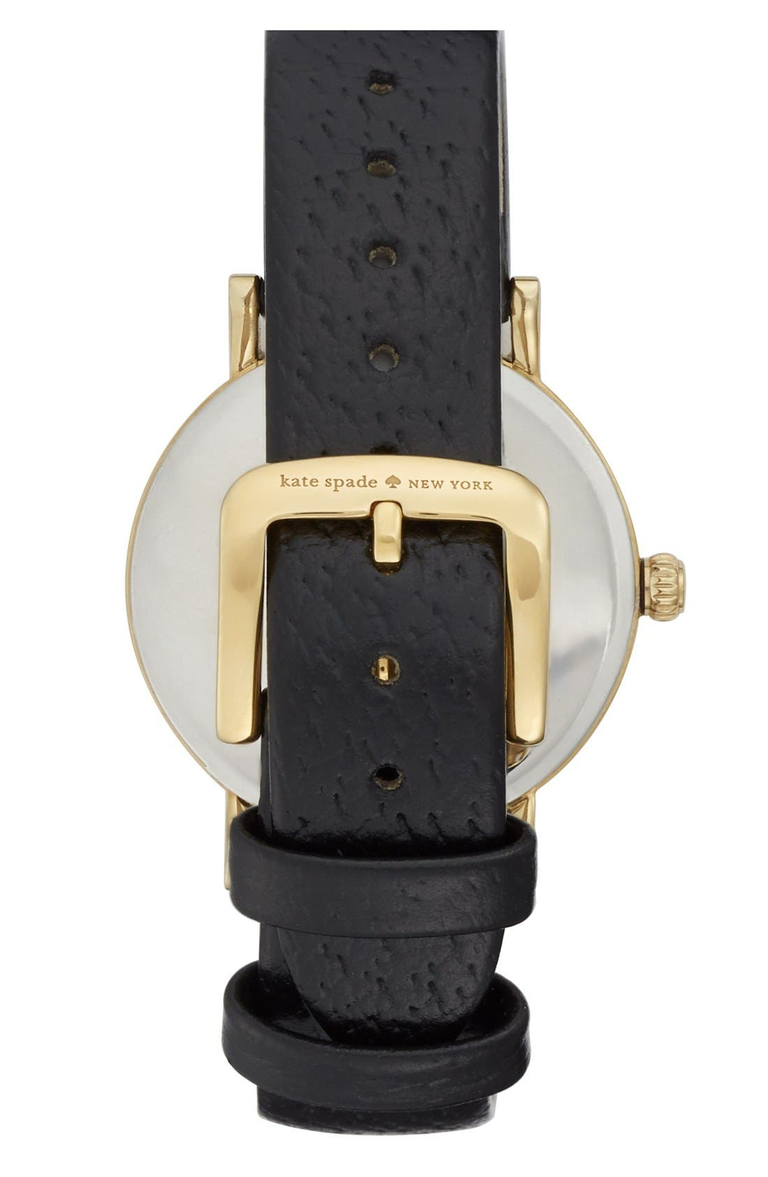 KATE SPADE NEW YORK,                             'metro' round leather strap watch, 34mm,                             Alternate thumbnail 2, color,                             001