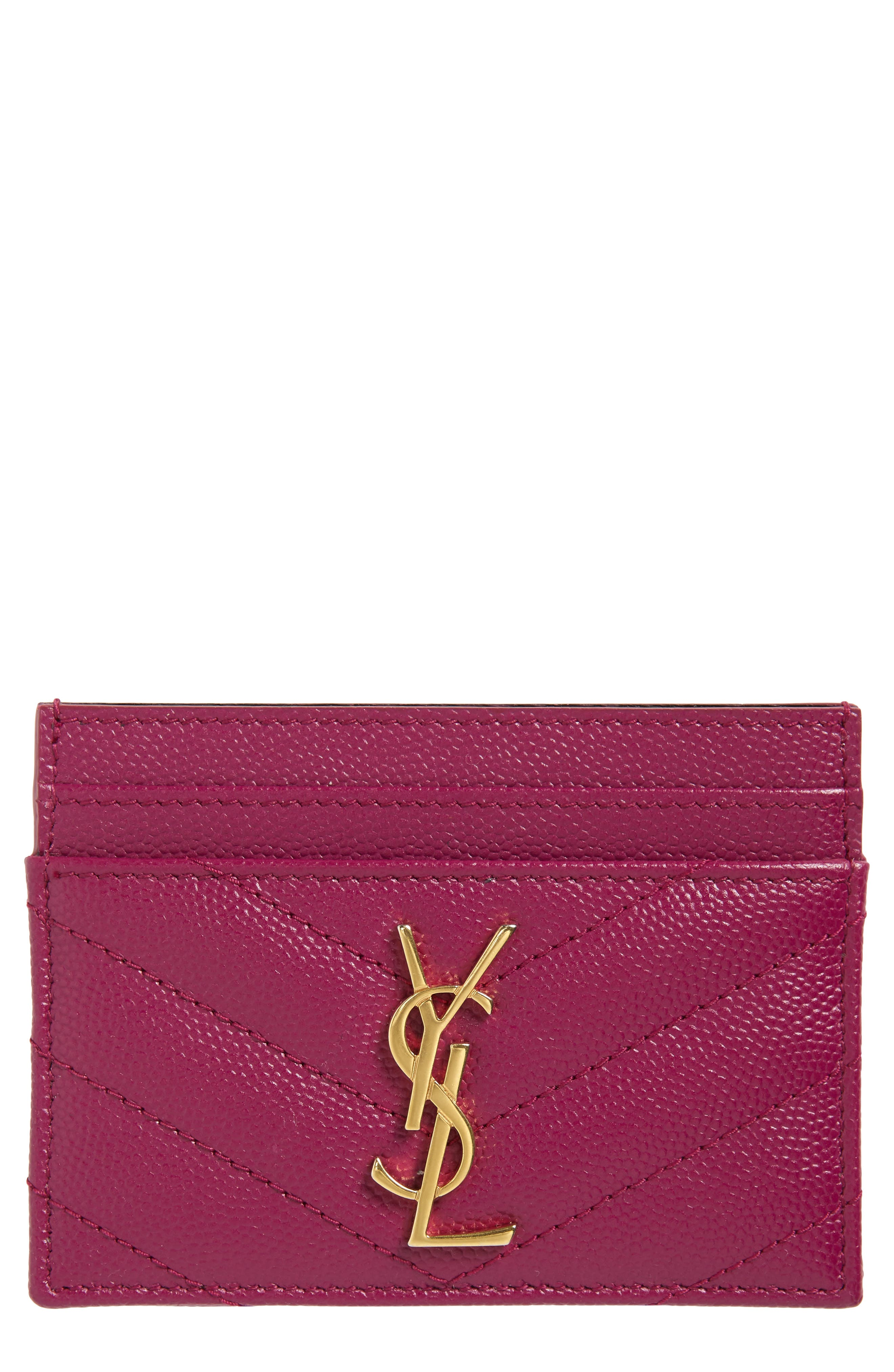 Monogram Quilted Leather Credit Card Case by Saint Laurent